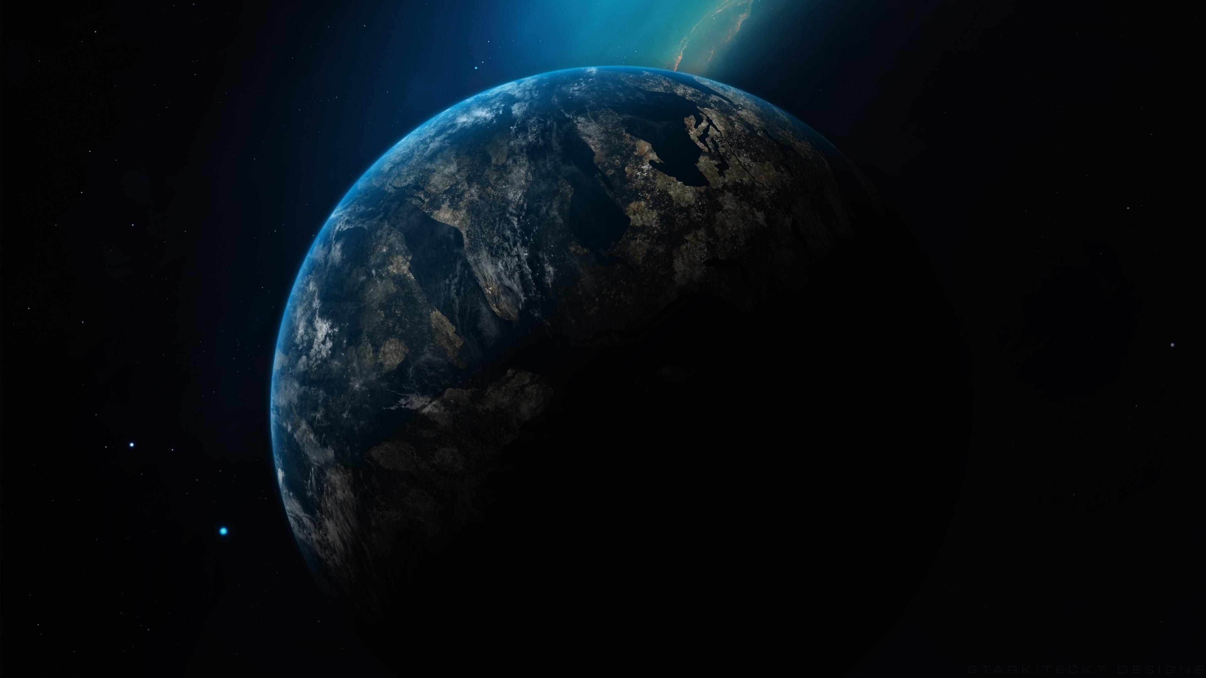 3840x2160 Planet Earth In Dark Universe 4k Wallpaper Hd