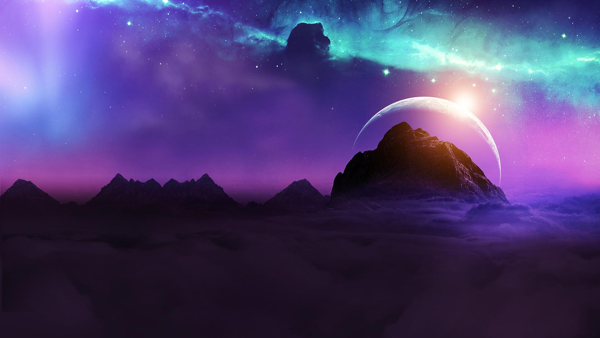Planet Rising Over Galaxy Wallpaper, HD Fantasy 4K ...