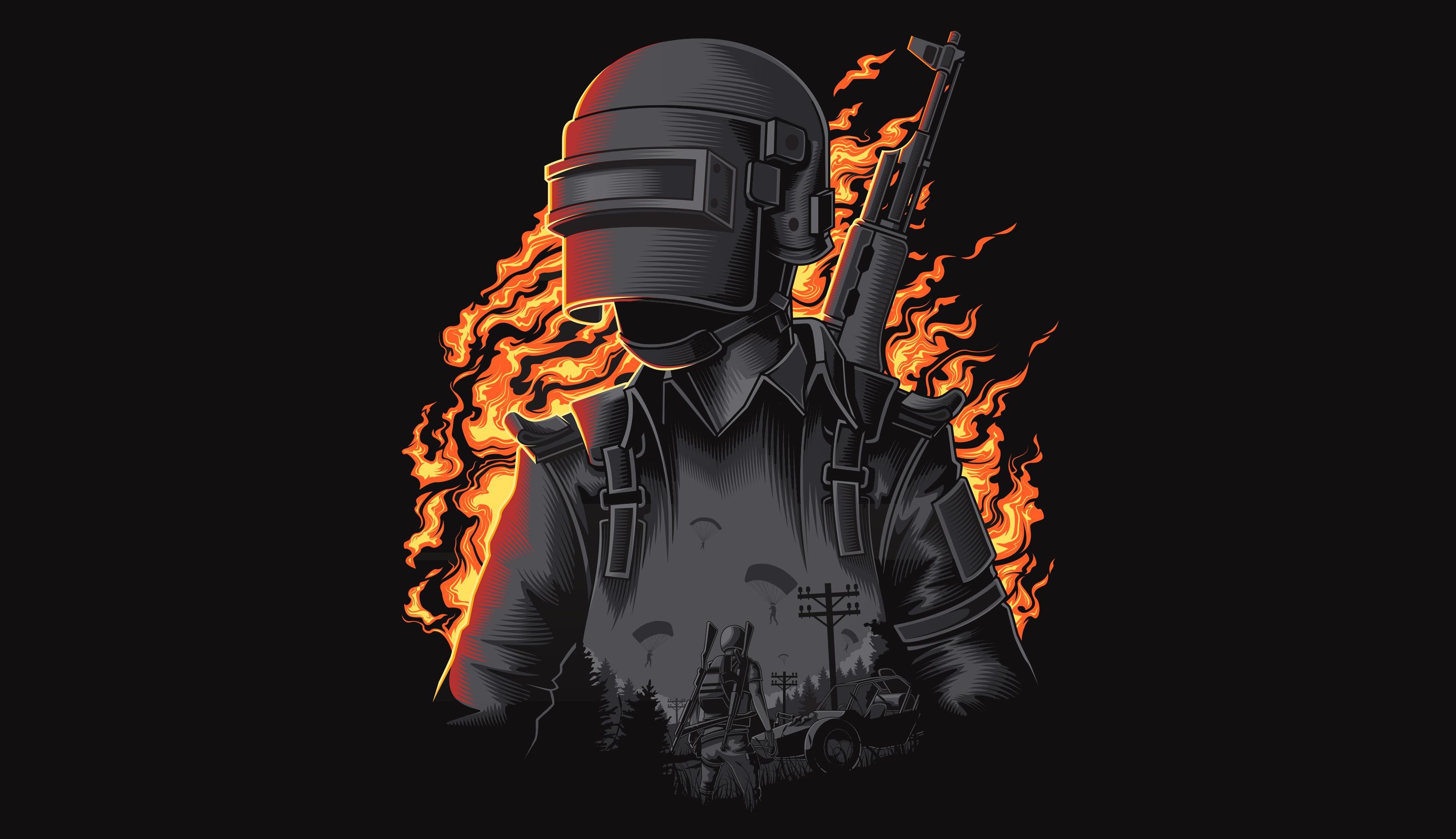 Pubg Fire Illustration Wallpaper Hd Games 4k Wallpapers