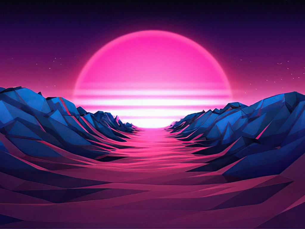 1024x768 Purple Sunrise 4K Vaporwave 1024x768 Resolution ...