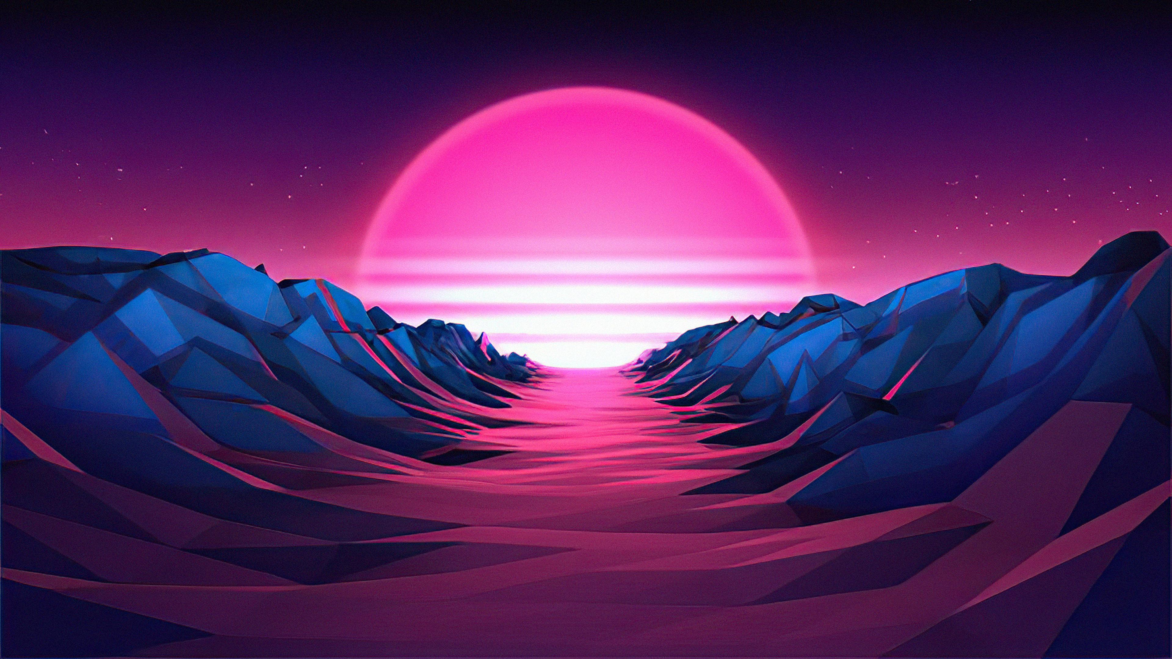 Purple Sunrise 4K Vaporwave Wallpaper, HD Artist 4K ...