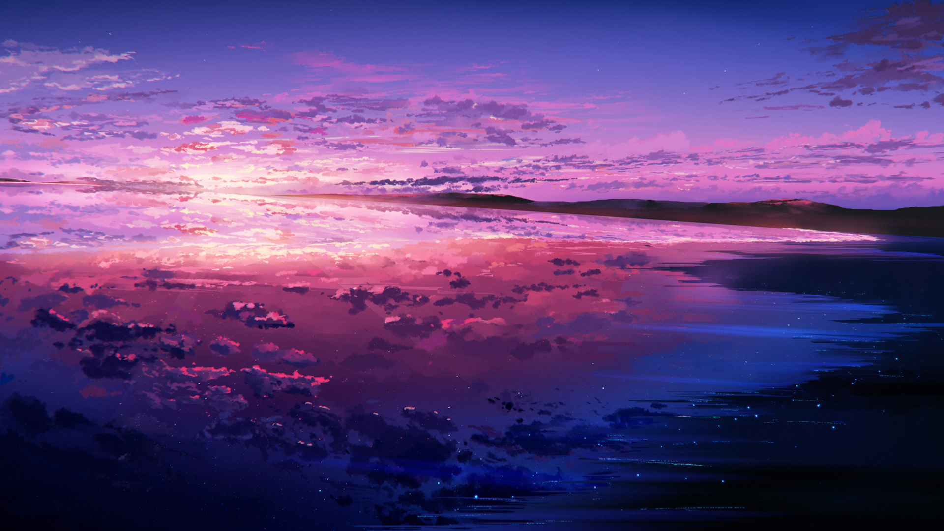 1920x1080 Purple Sunset Reflected In The Ocean 1080p Laptop