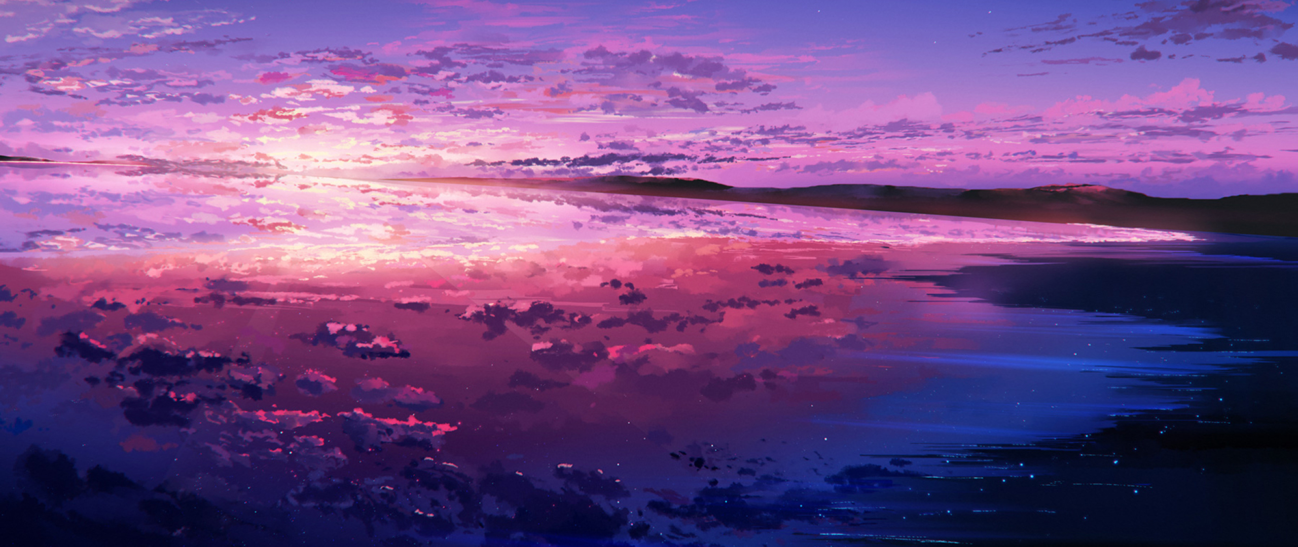 2560x1080 Purple Sunset Reflected In The Ocean 2560x1080 Resolution Wallpaper Hd Artist 4k Wallpapers Images Photos And Background