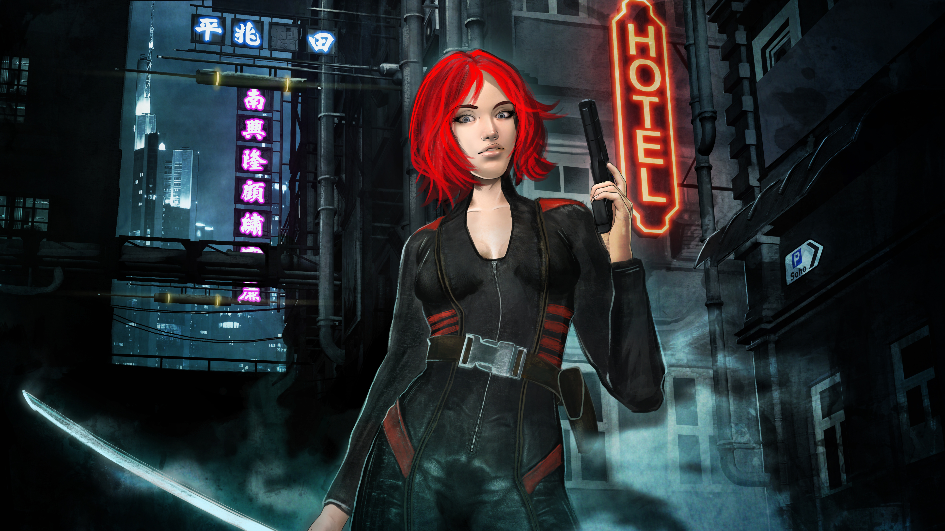 3840x2160 Red Hair Cyberpunk Girl 4k Wallpaper Hd Artist 4k Wallpapers Images Photos And Background
