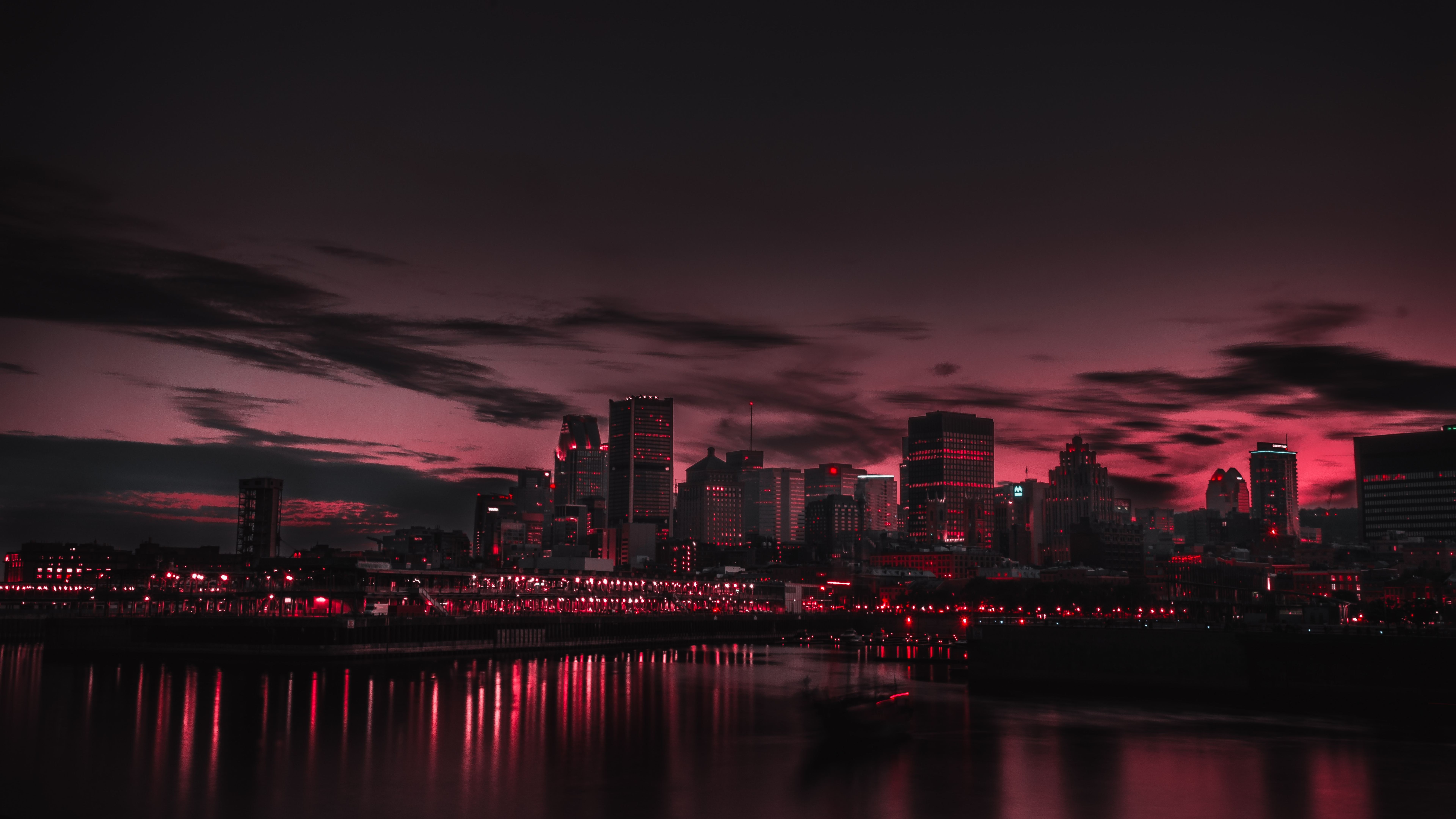 Panoramic Pictures Galaxy S6: Red Night Panorama Buildings Lights And Red Sky, HD 8K