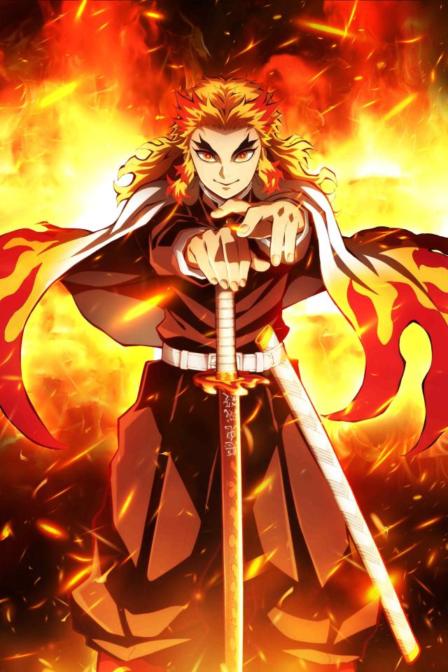 640x960 Rengoku Demon Slayer iPhone 4, iPhone 4S Wallpaper ...