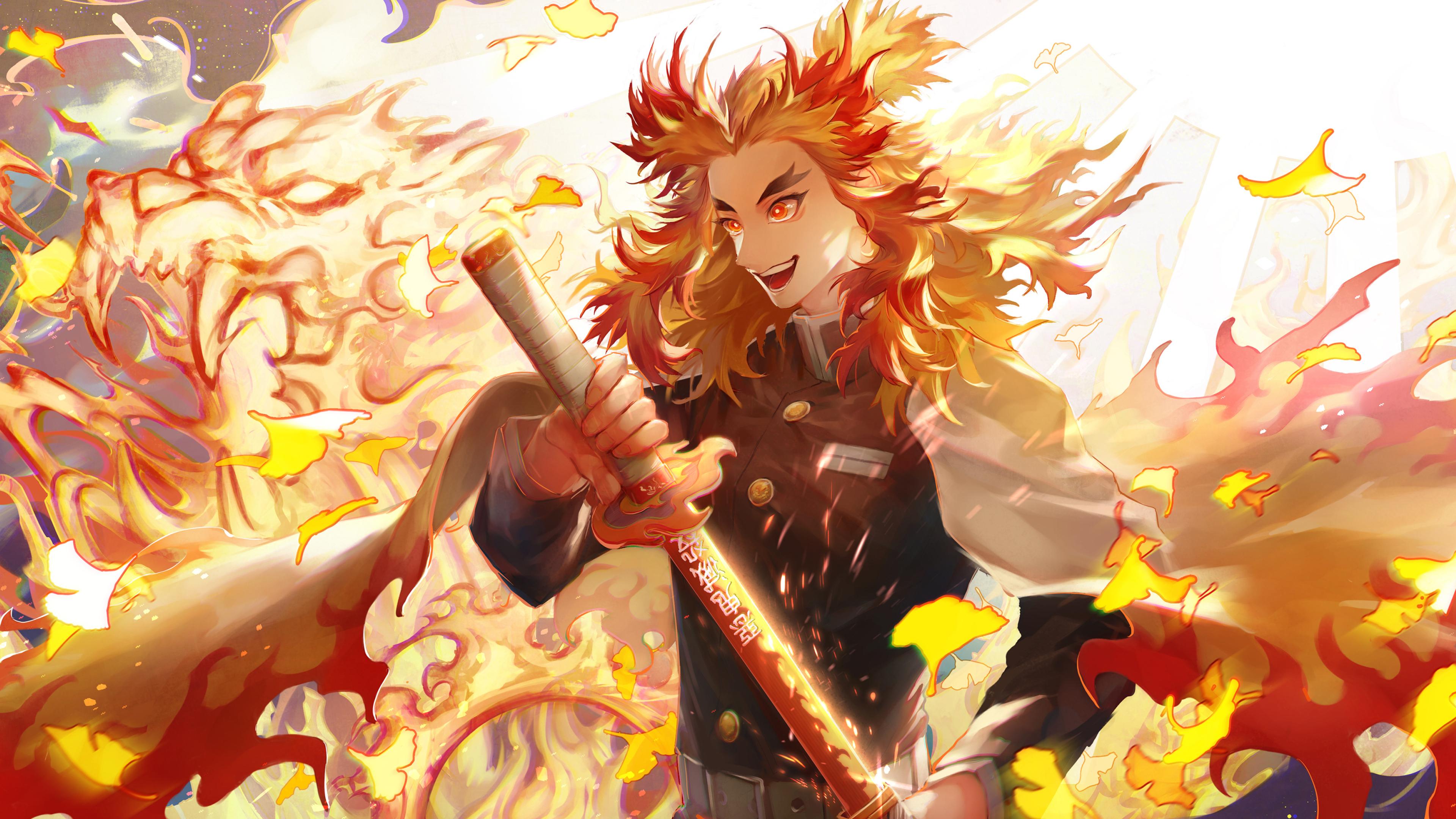 3840x2160 Rengoku Kyoujurou 4K 4K Wallpaper, HD Anime 4K ...