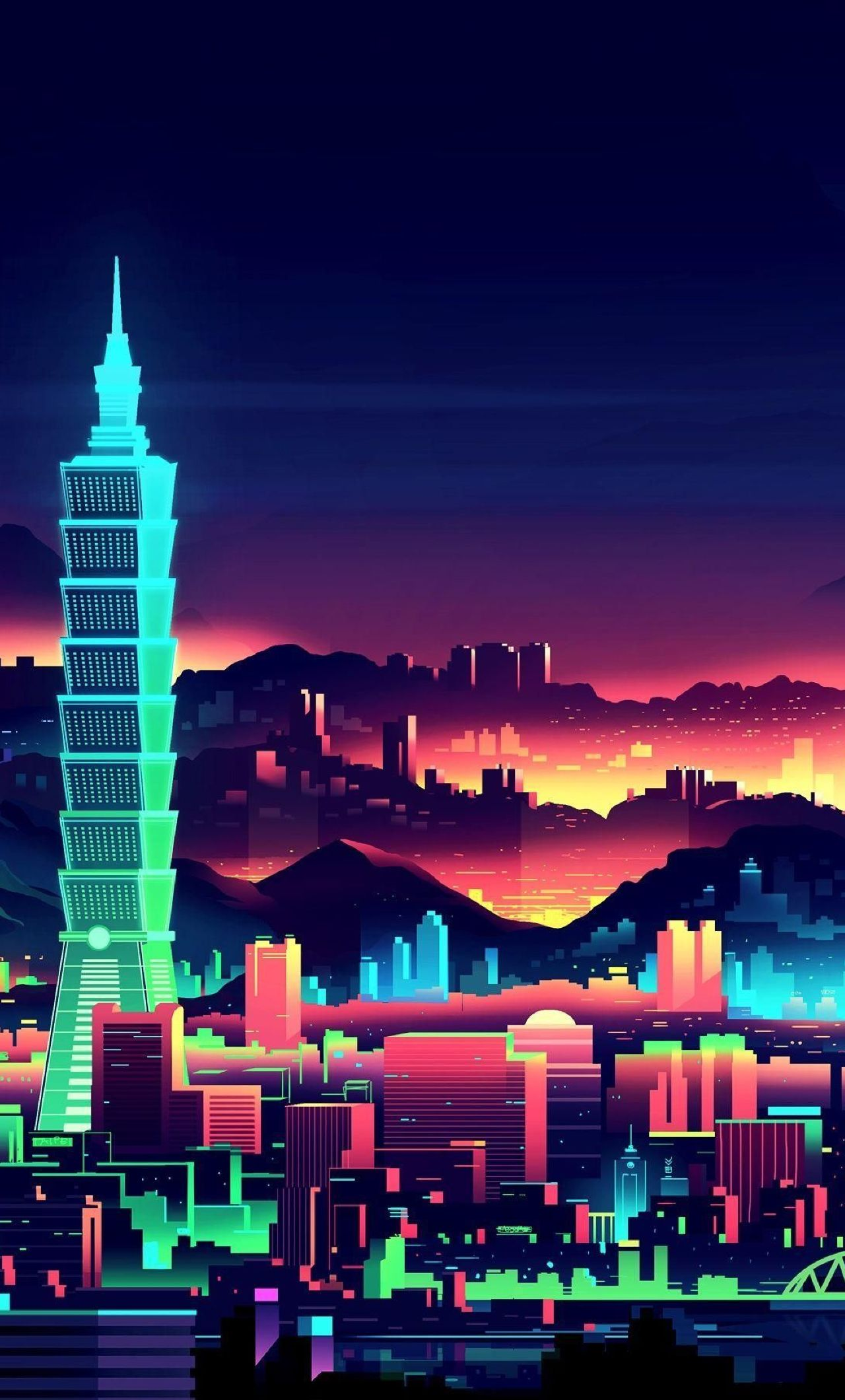 1280x2120 Retro 80s Digital Minimalism City Iphone 6 Plus