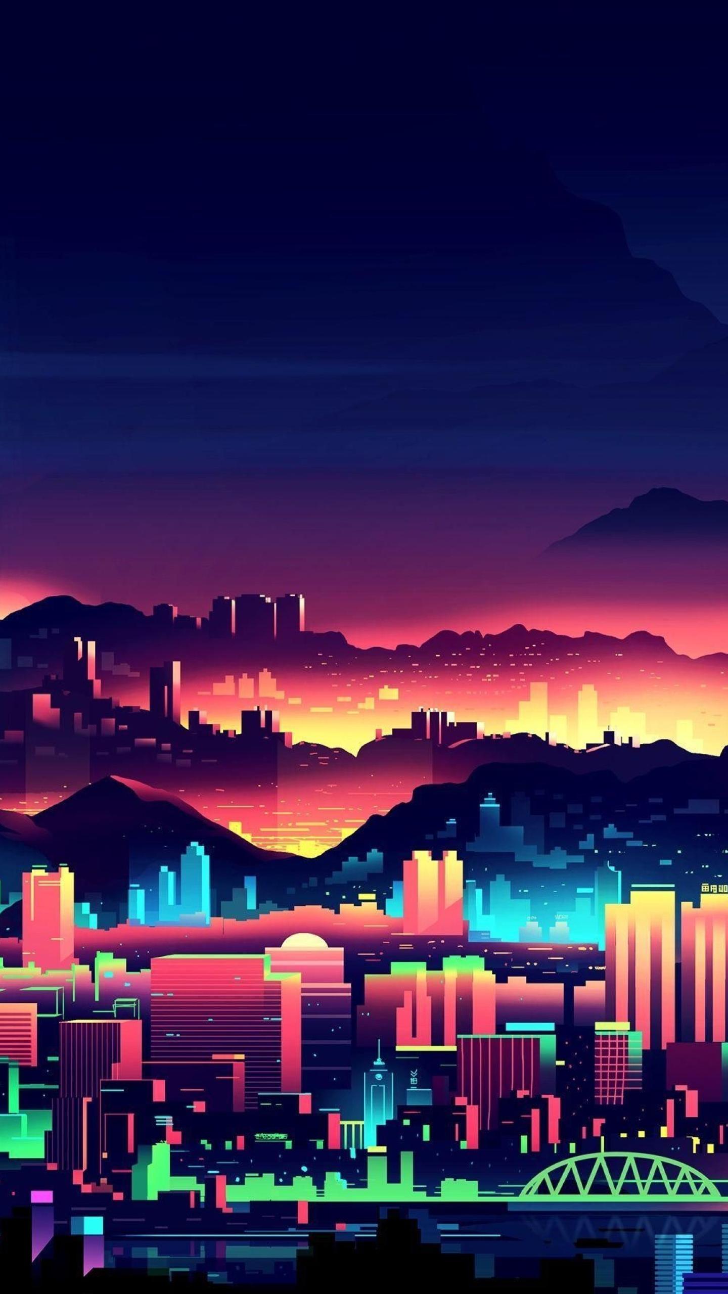 HD Wallpaper | Background Image Retro 80s Digital Minimalism City