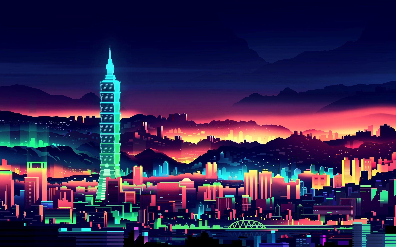 Download Retro 80s Digital Minimalism City 2560x1080 ...
