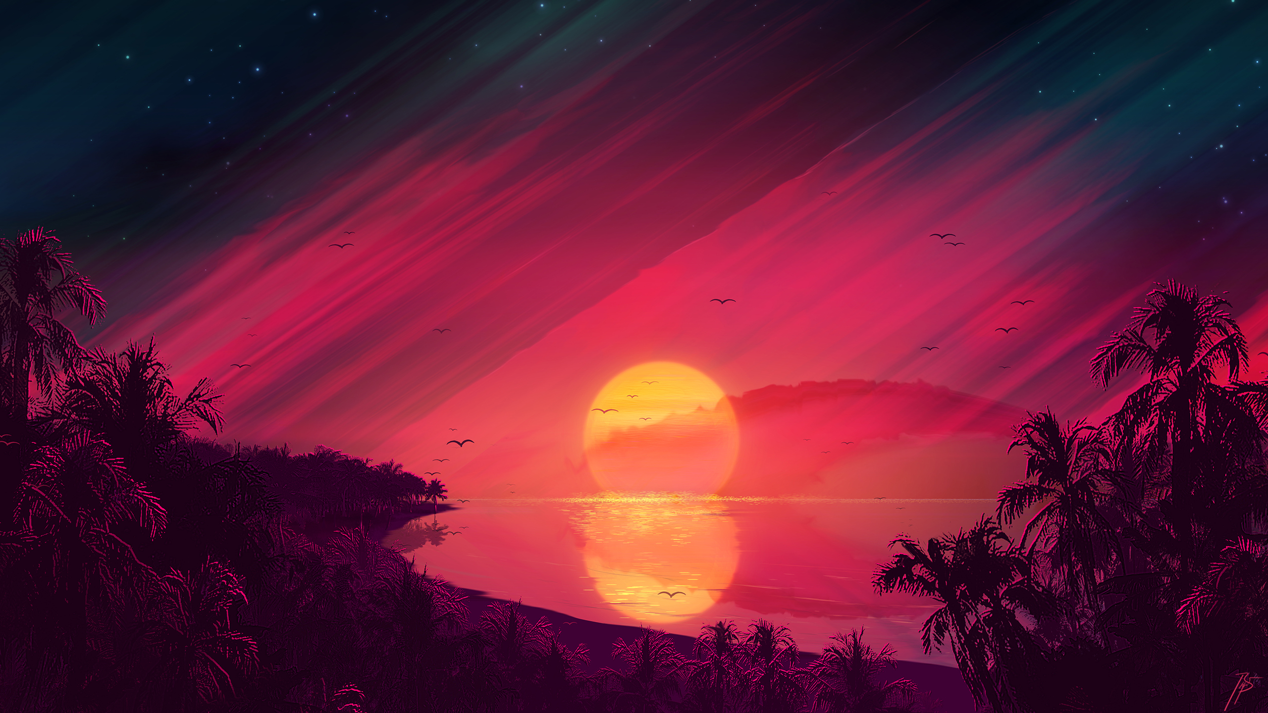2560x1440 Retro Beach Art 1440p Resolution Wallpaper Hd
