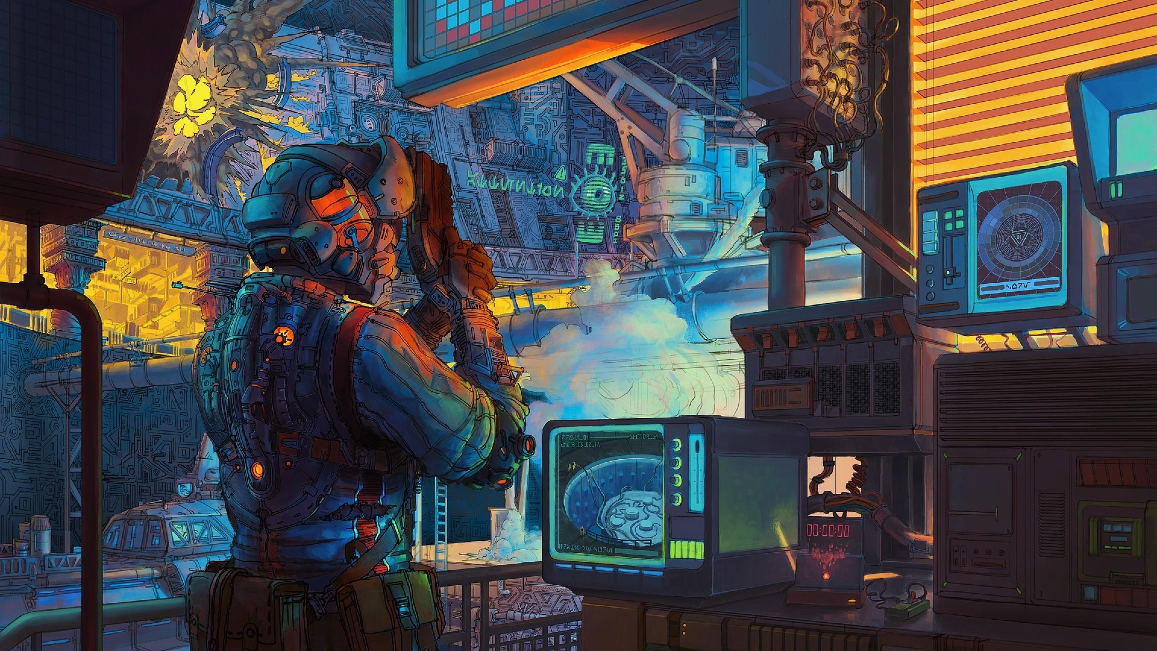Retro Lab Scifi Artwork, Full HD Wallpaper
