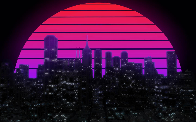 Best Ps Vita Games >> Retro Neon Cityscape, Full HD 2K Wallpaper
