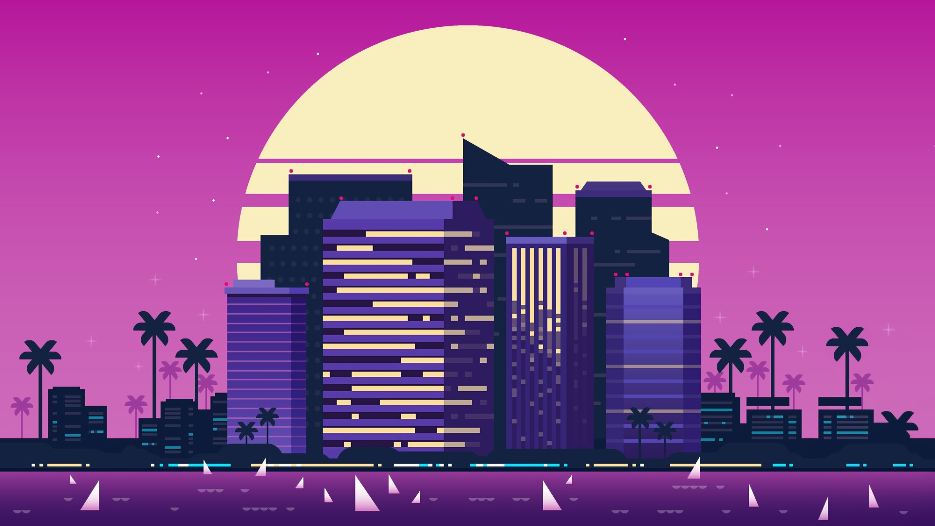 1920x1080 Retro Style City Purple Background 1080p Laptop Full Hd Wallpaper Hd Artist 4k Wallpapers Images Photos And Background