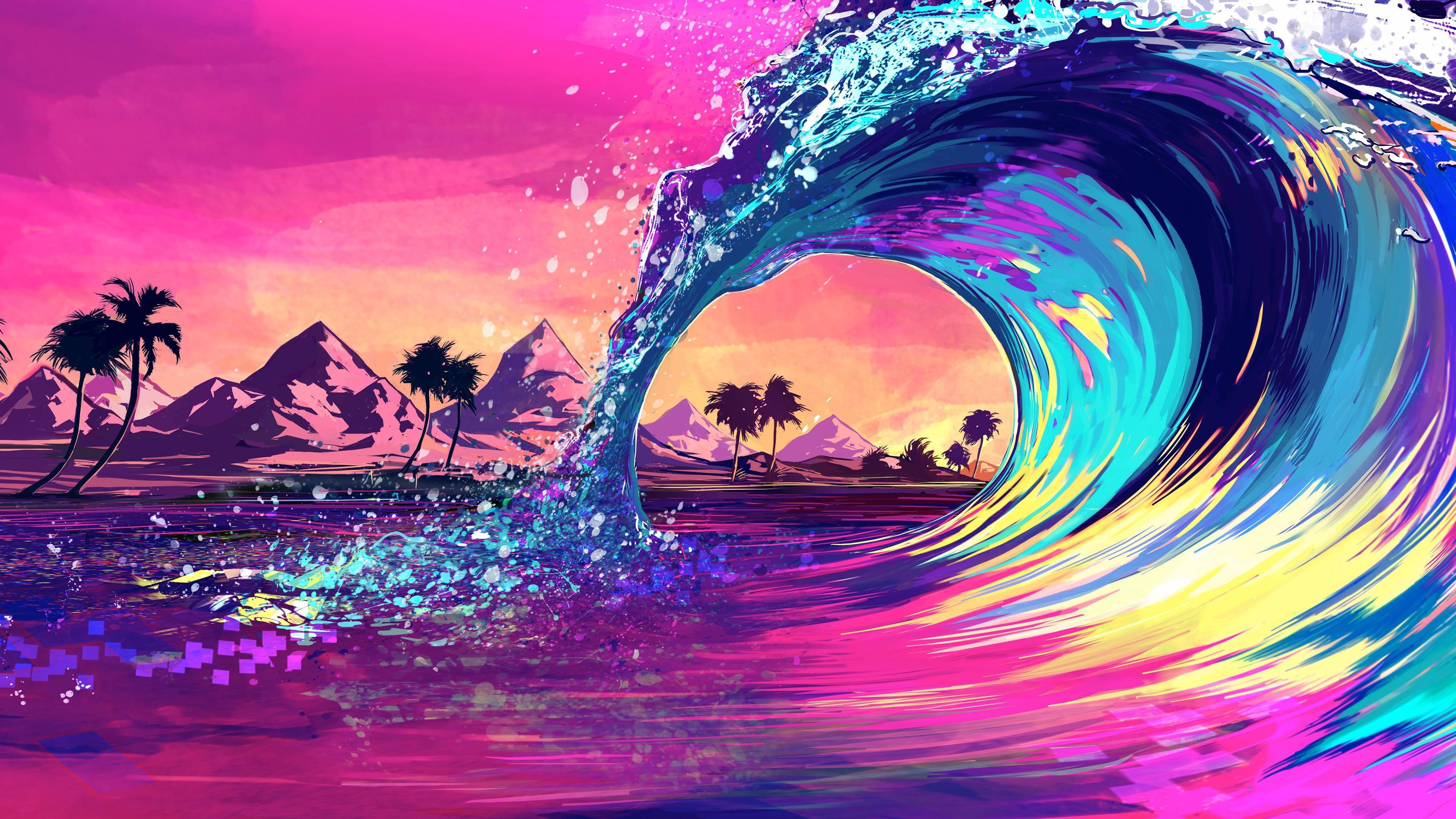 Retro Wave Ocean Wallpaper, HD Artist 4K Wallpapers ...