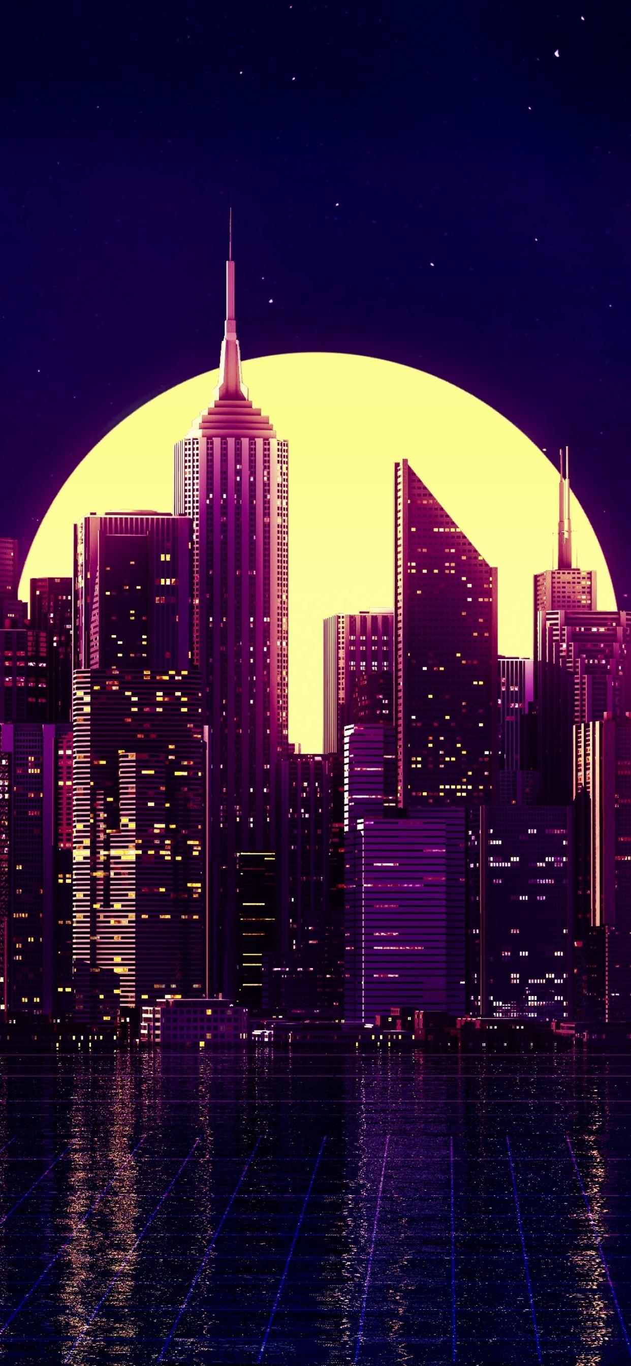 retro wave purple skyscraper
