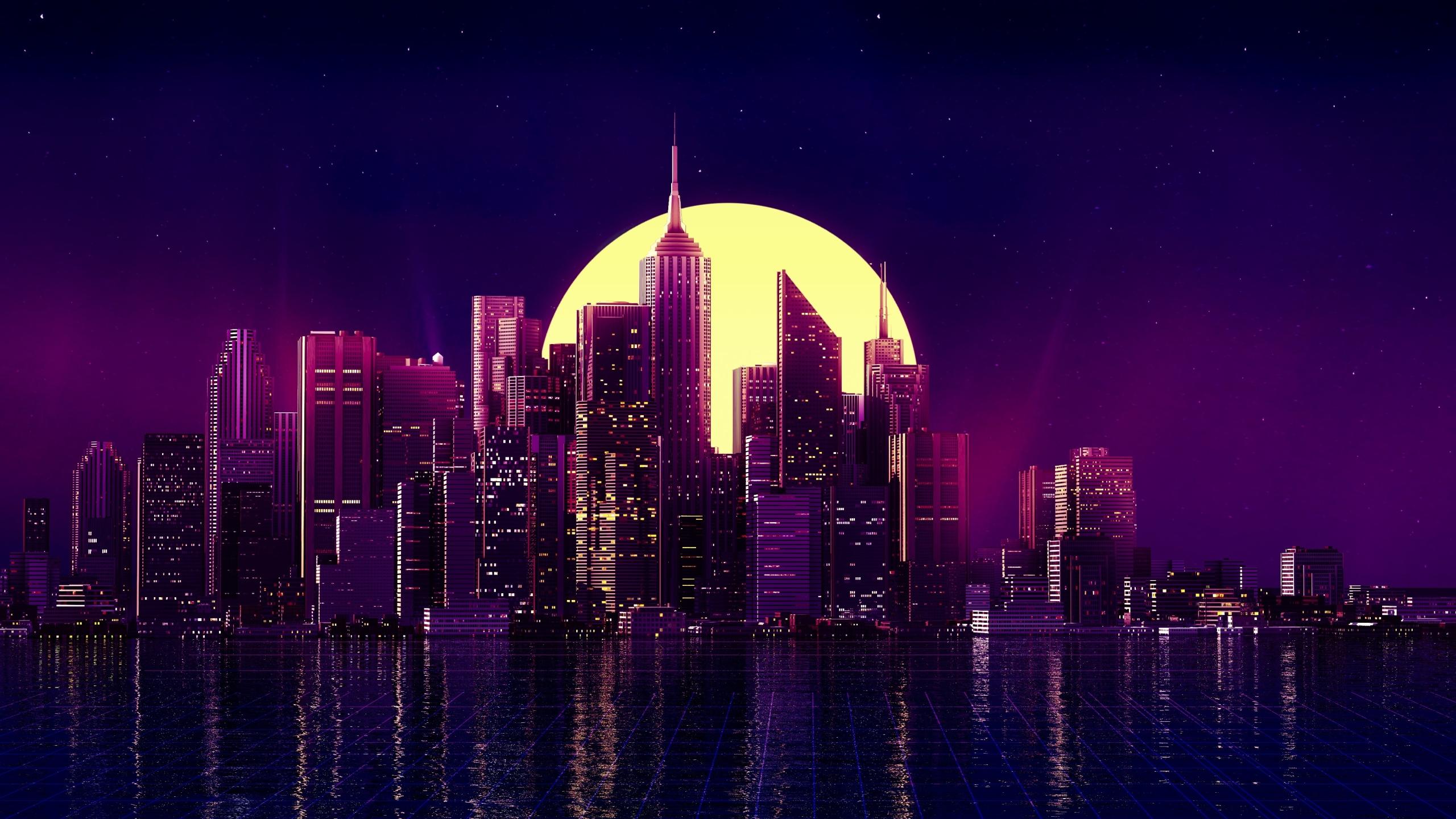 2560x1440 Retro Wave Purple Skyscraper City 1440p Resolution