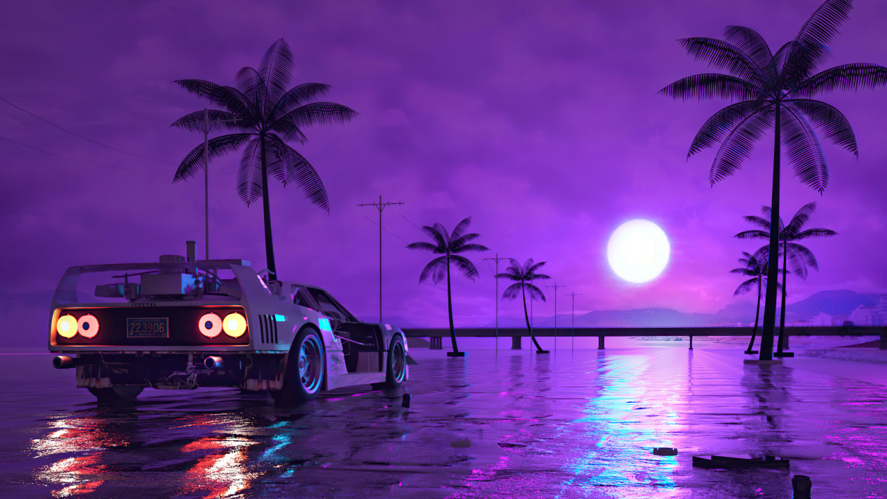 1280x720 Retro Wave Sunset and Running Car 720P Wallpaper ...
