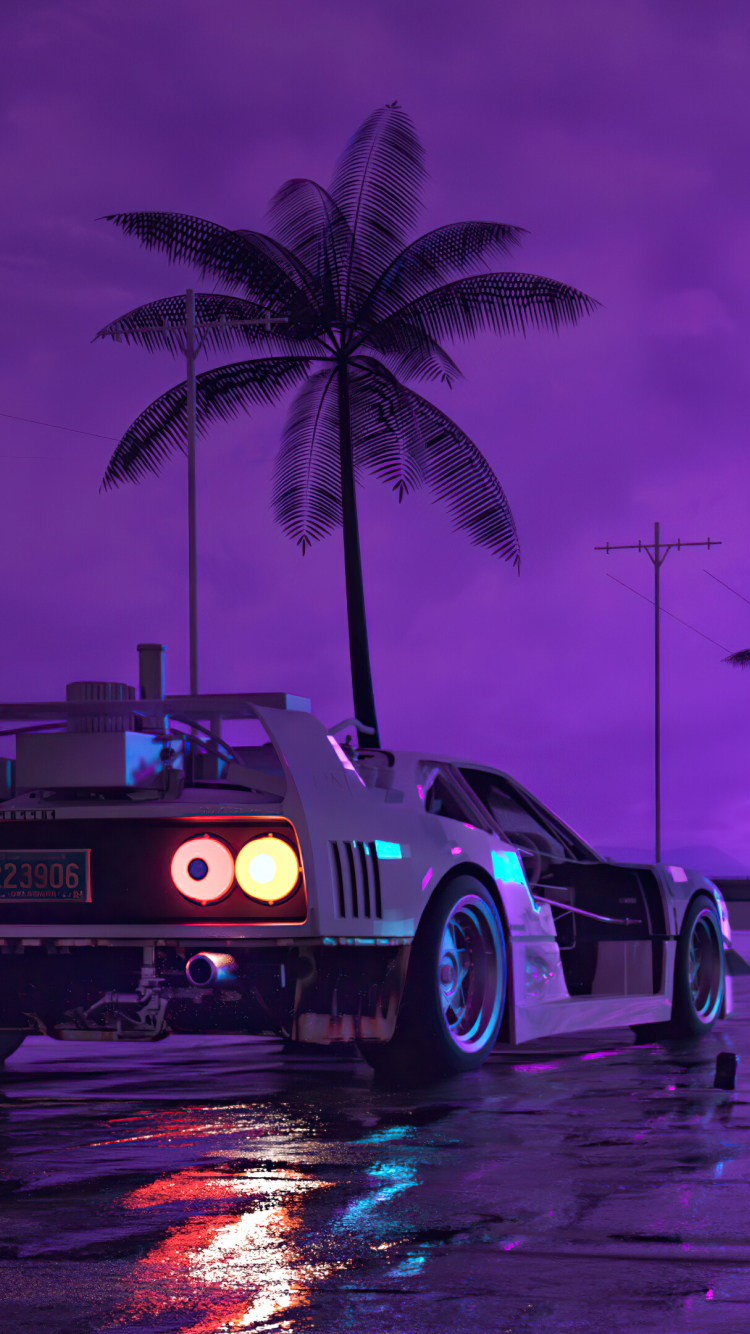 750x1334 Retro Wave Sunset and Running Car iPhone 6 ...