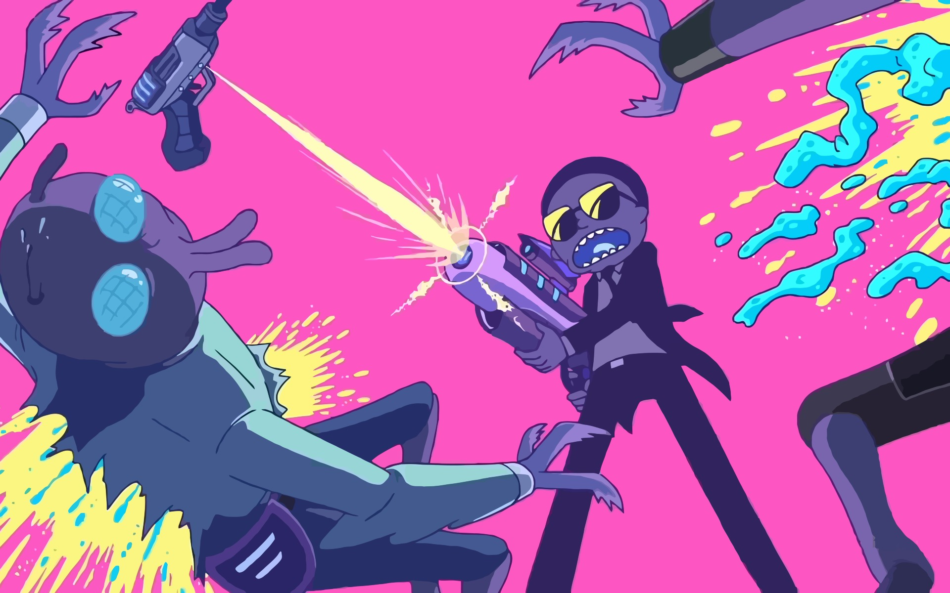 Download rick and morty fighting with aliens 1600x900 resolution hd 8k wallpaper - Rick and morty download ...