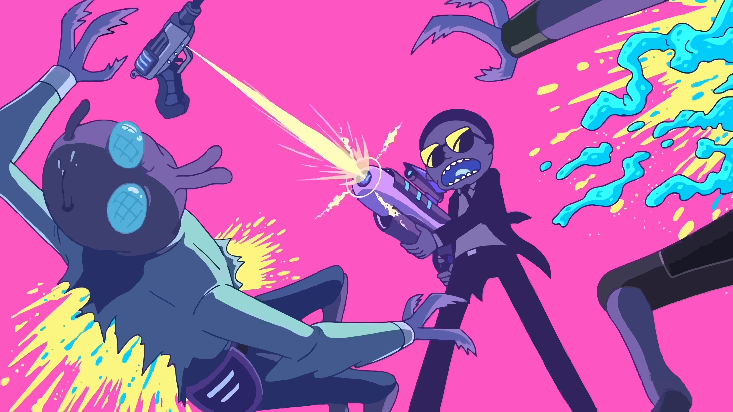2560x1440 Rick And Morty Fighting With Aliens 1440p Resolution