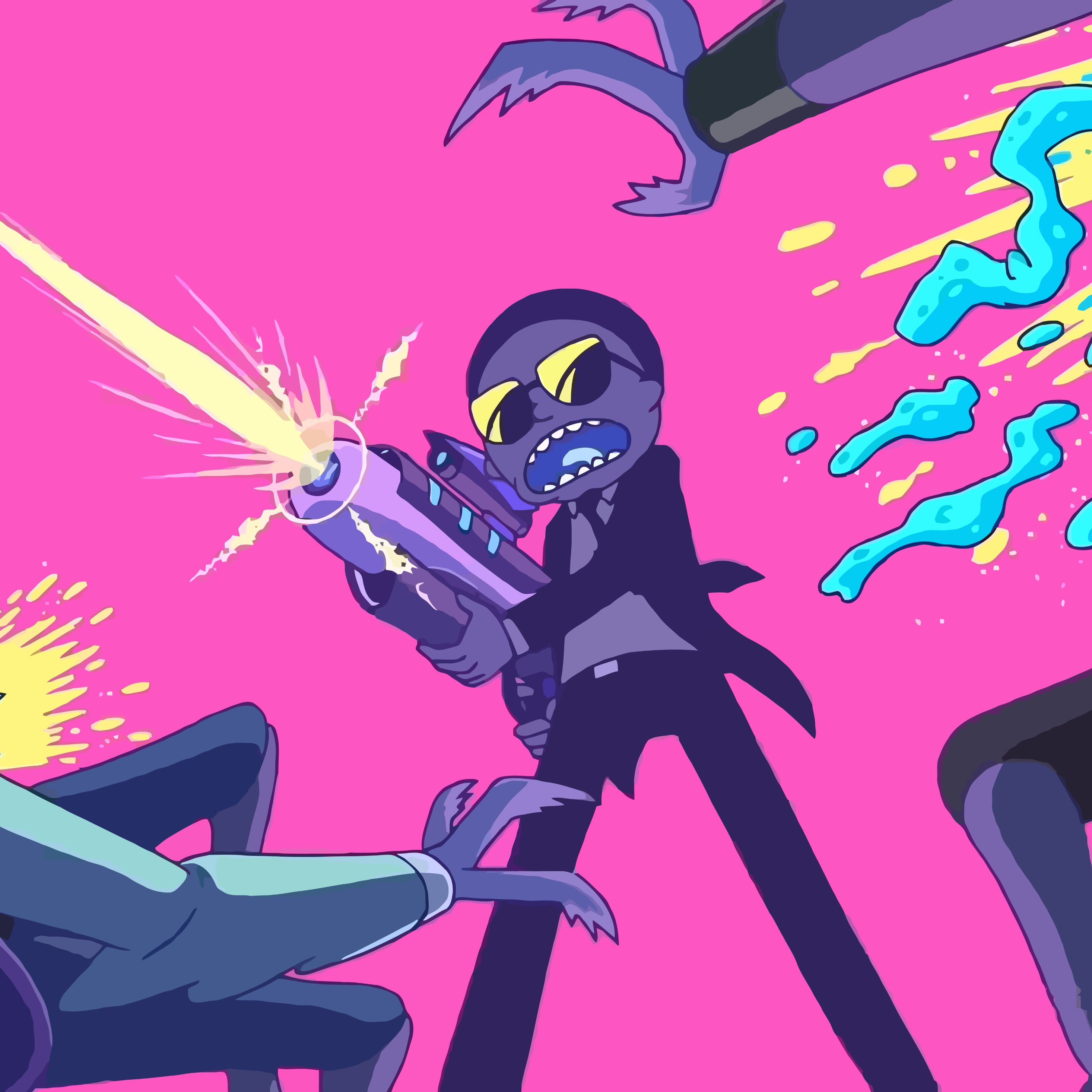 Download rick and morty fighting with aliens 3840x2400 resolution hd 8k wallpaper - Rick and morty download ...