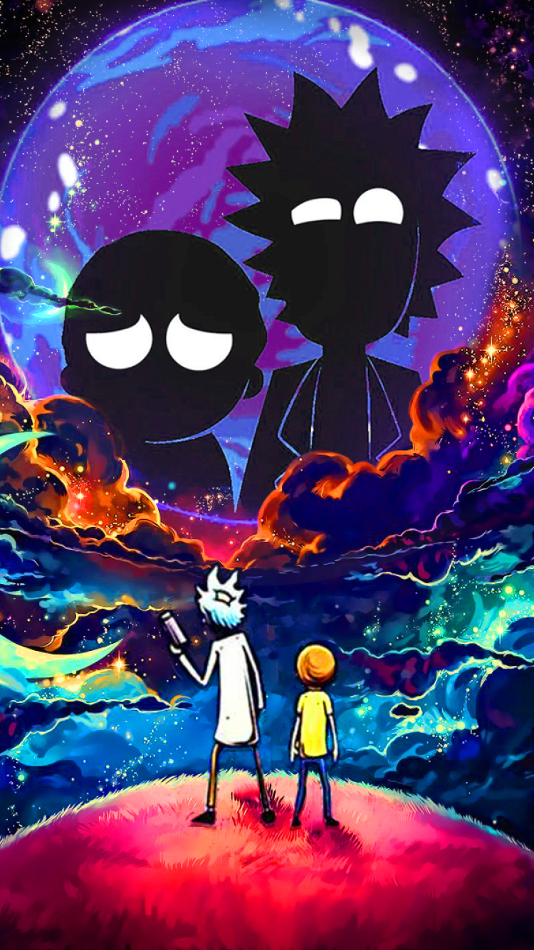 750x1334 Rick and Morty in Outer Space iPhone 6, iPhone 6S ...