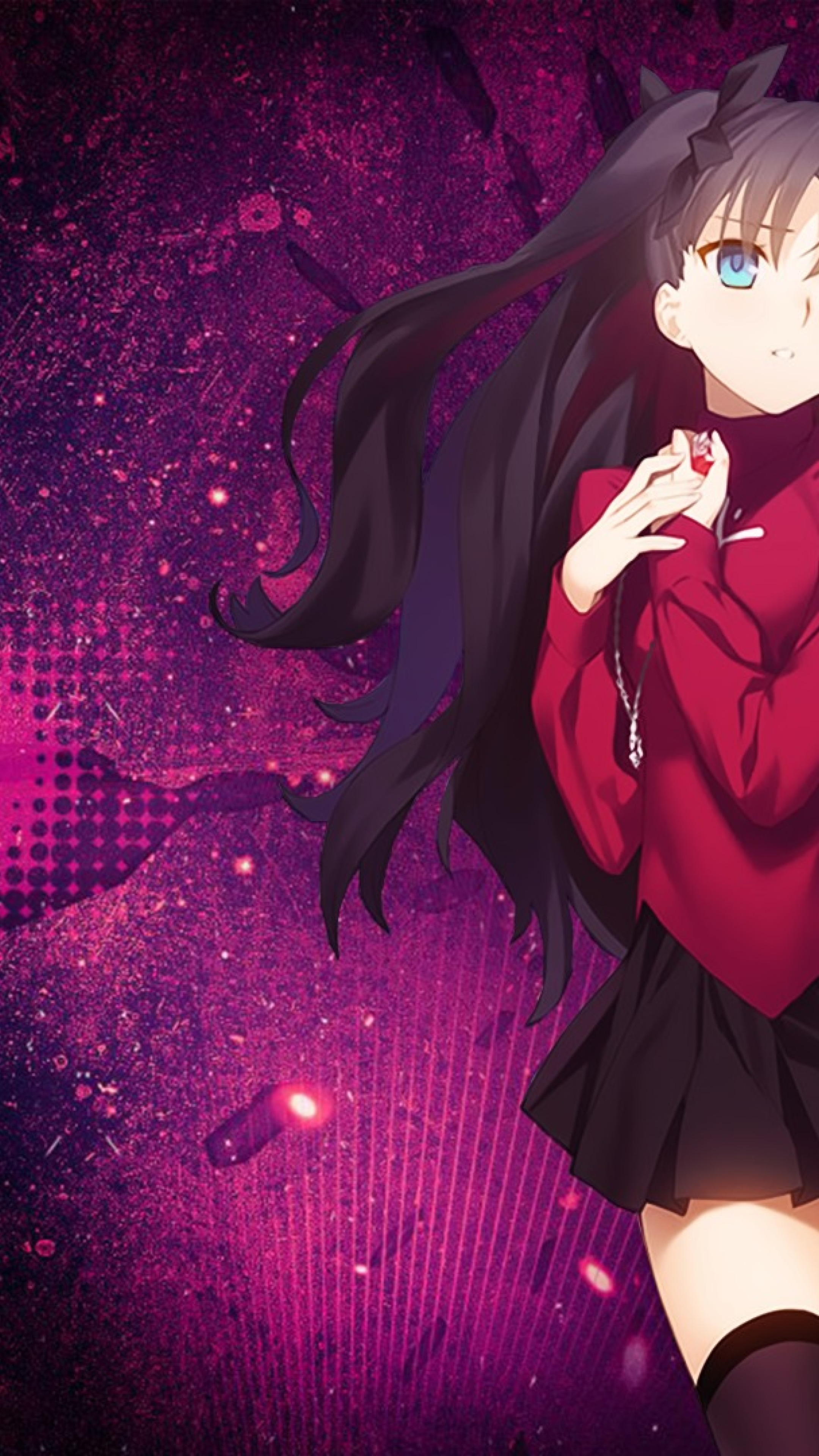 Download wallpapers Fate Stay Night, Tohsaka Rin, TYPE-MOON, portrait, main character, face