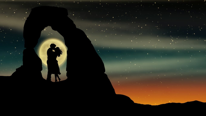 1360x768 Romantic Kiss Over Moon Desktop Laptop Hd Wallpaper