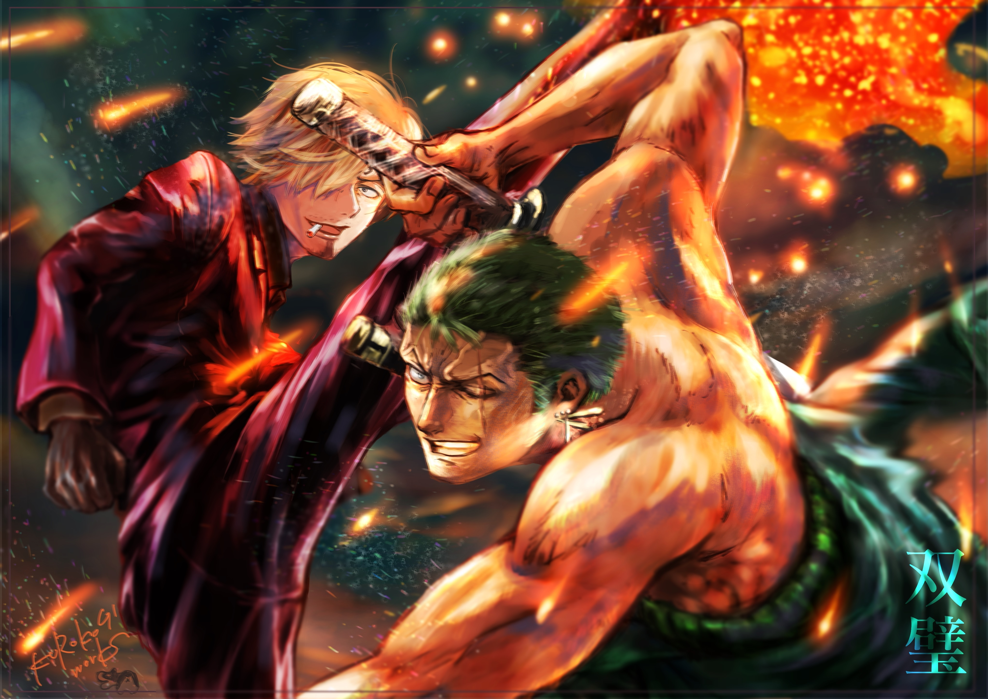 3840x2160 Roronoa Zoro Vs Sanji One Piece 4k Wallpaper Hd Anime 4k Wallpapers Images Photos And Background