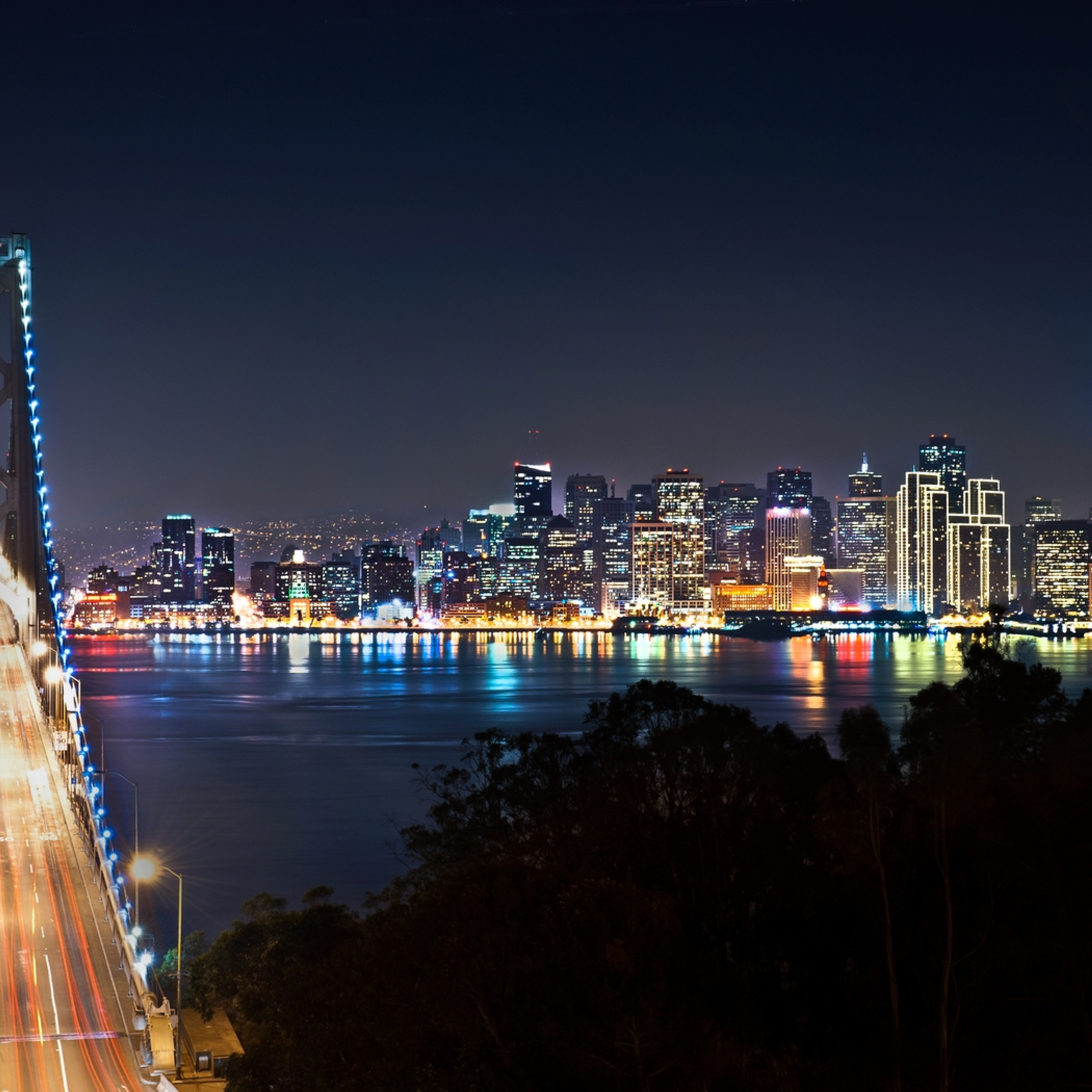San Francisco, Bridge, Night City, Full HD Wallpaper