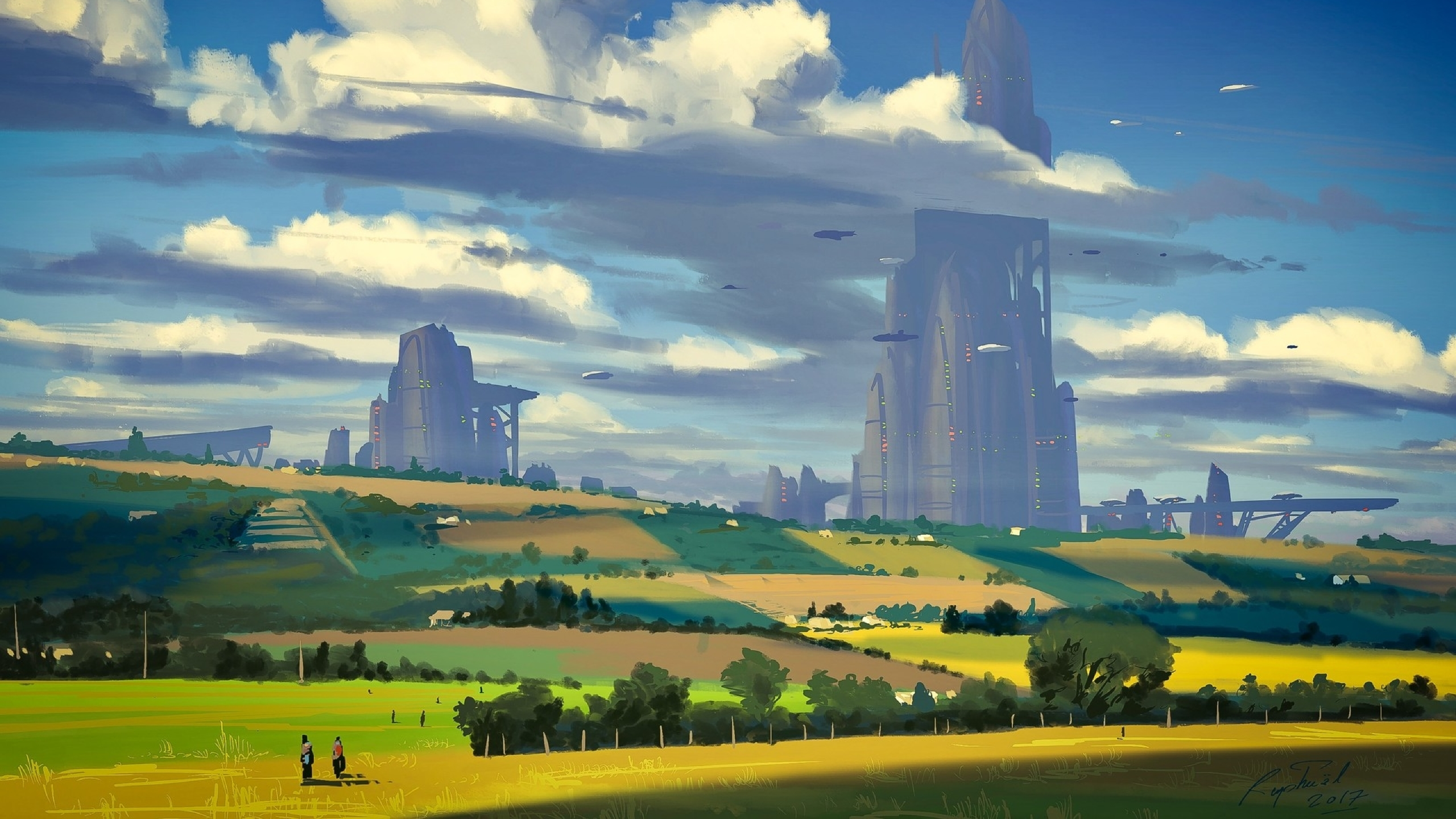 Download Sci Fi Countryside Painting City 1280x2120 Resolution Full