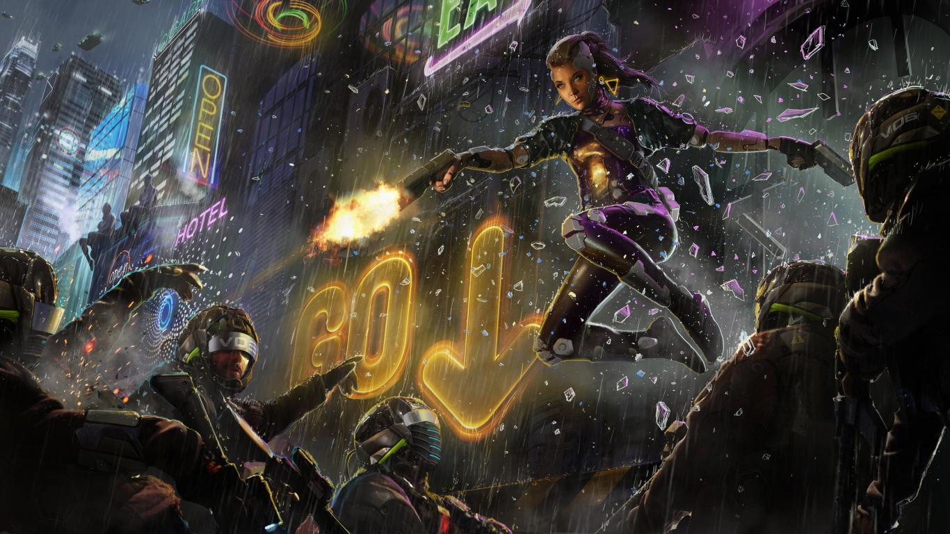 Sci Fi Wallpaper 2560x1440: Scifi Cyberpunk Woman Warrior, HD 4K Wallpaper