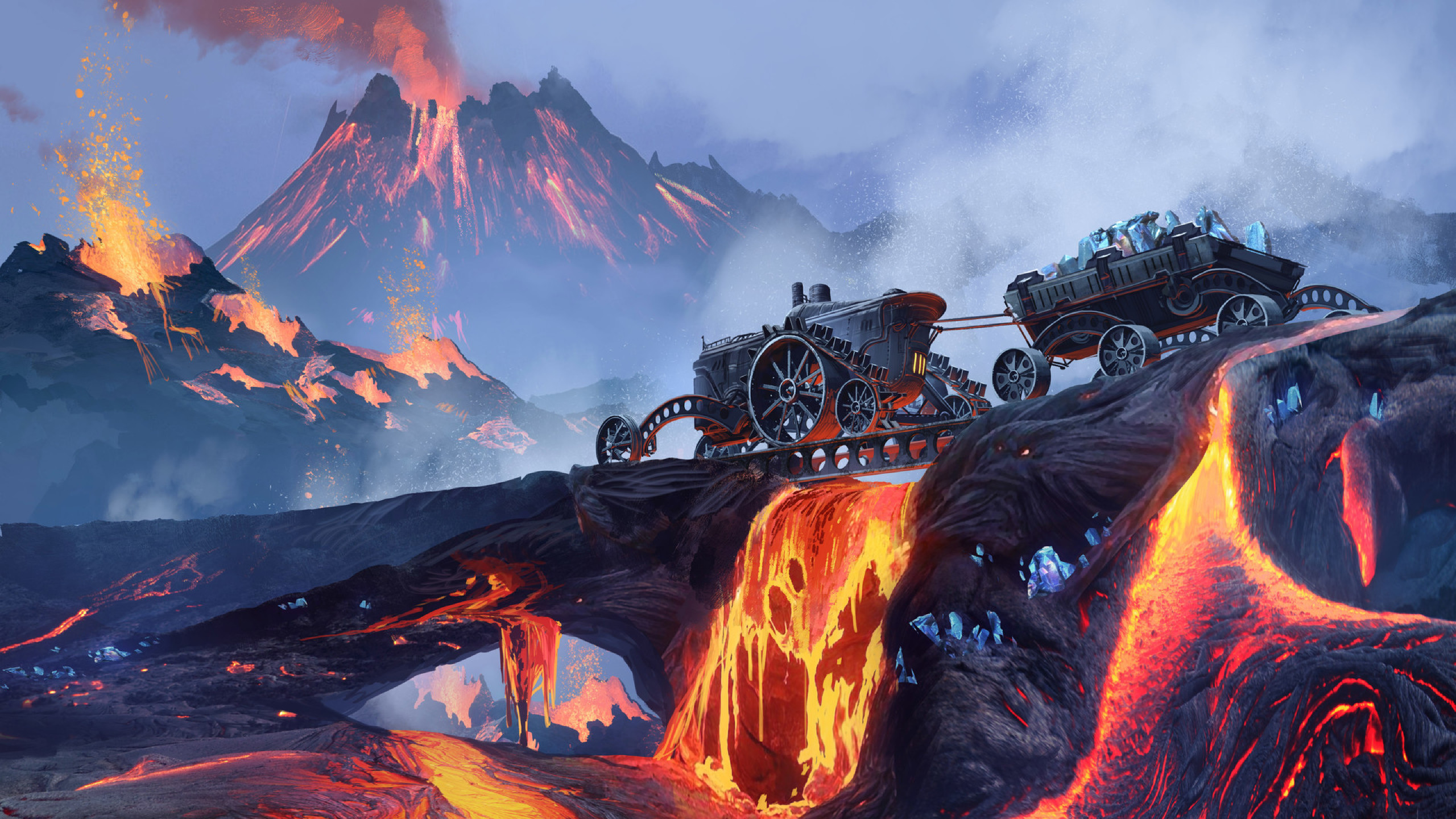 2560x1440 Scifi Steampunk Mountain Vehicle Mining Lava 1440p Resolution Wallpaper Hd Other 4k Wallpapers Images Photos And Background
