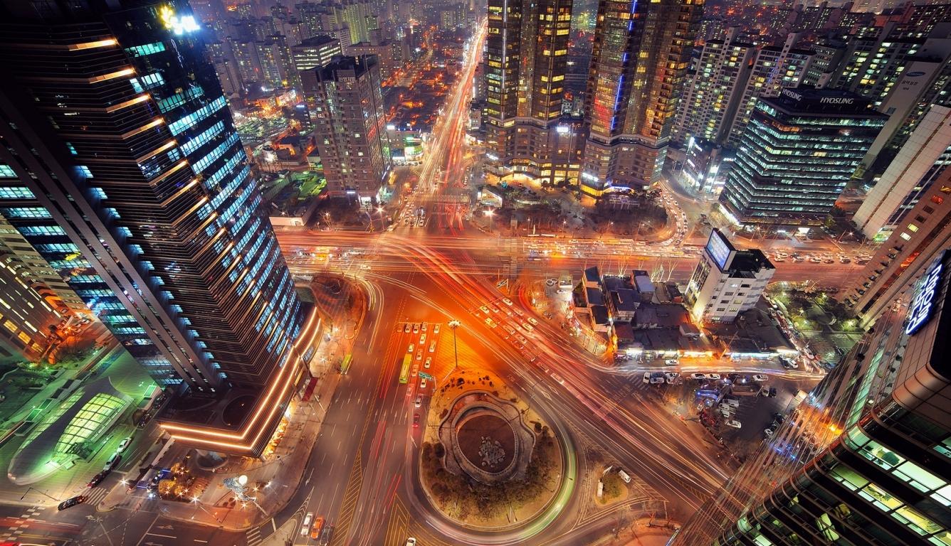 1336x768 seoul, korea, night HD Laptop Wallpaper, HD City ...