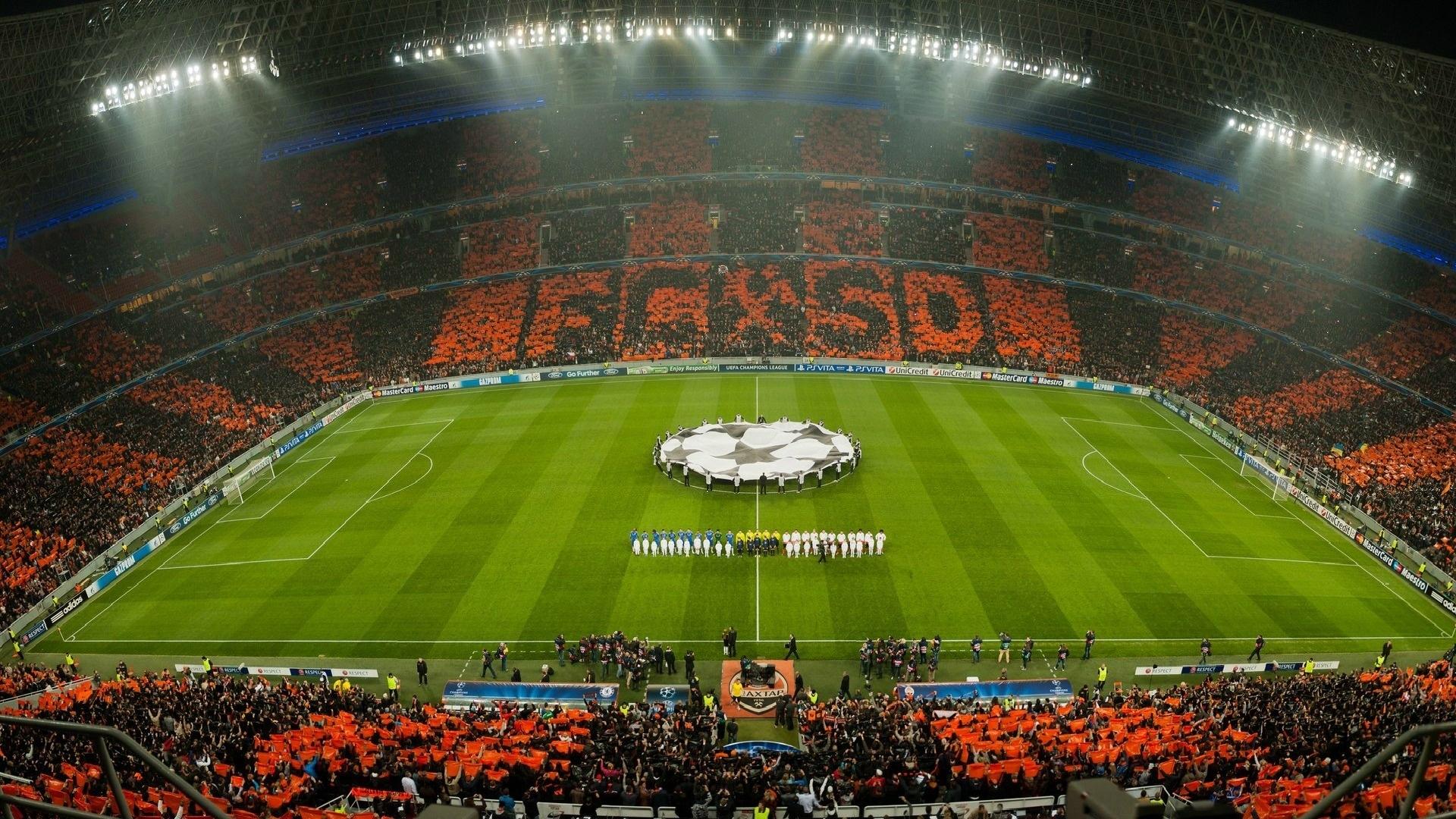 Stadium Soccer Football Sports Qhd Wallpaper 2560x2560: Shakhtar Donetsk, Donbass Arena, Orange Black, Full HD