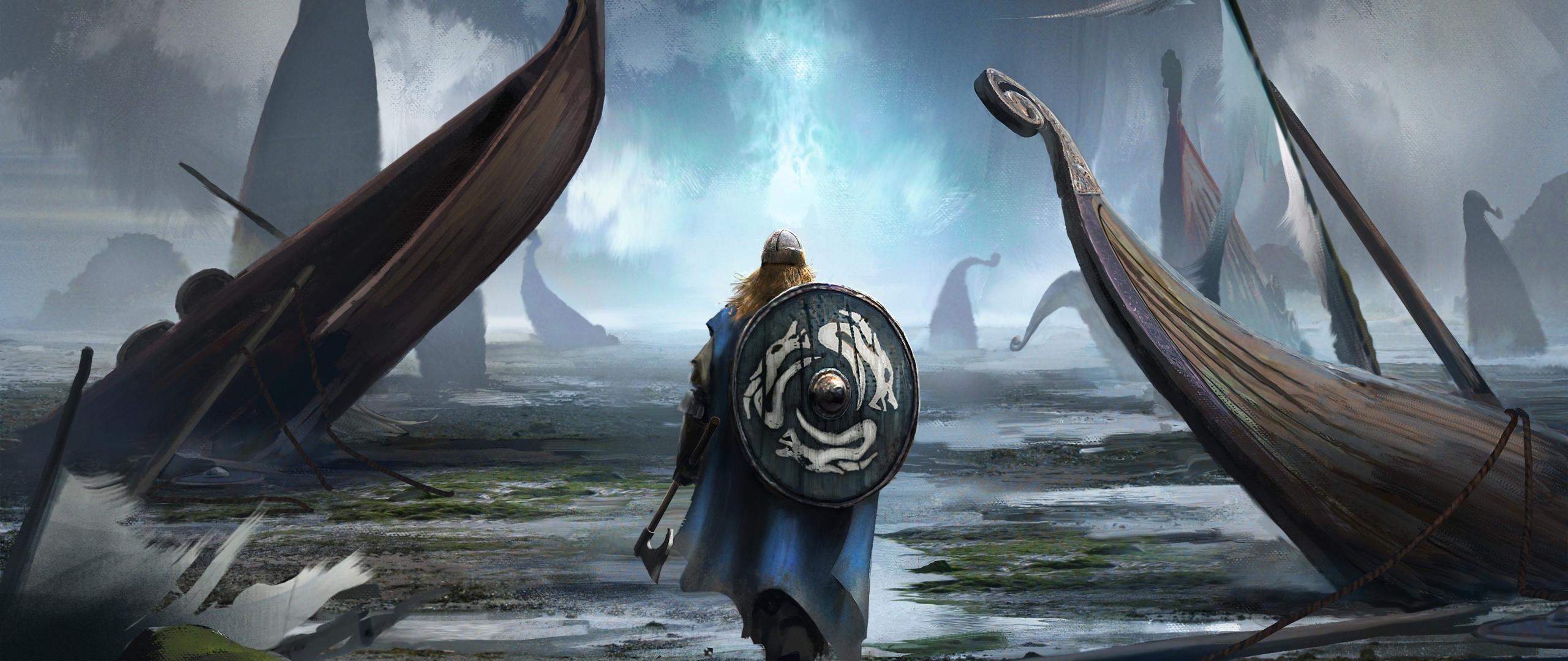 shield warrior viking fantasy art hd 4k wallpaper