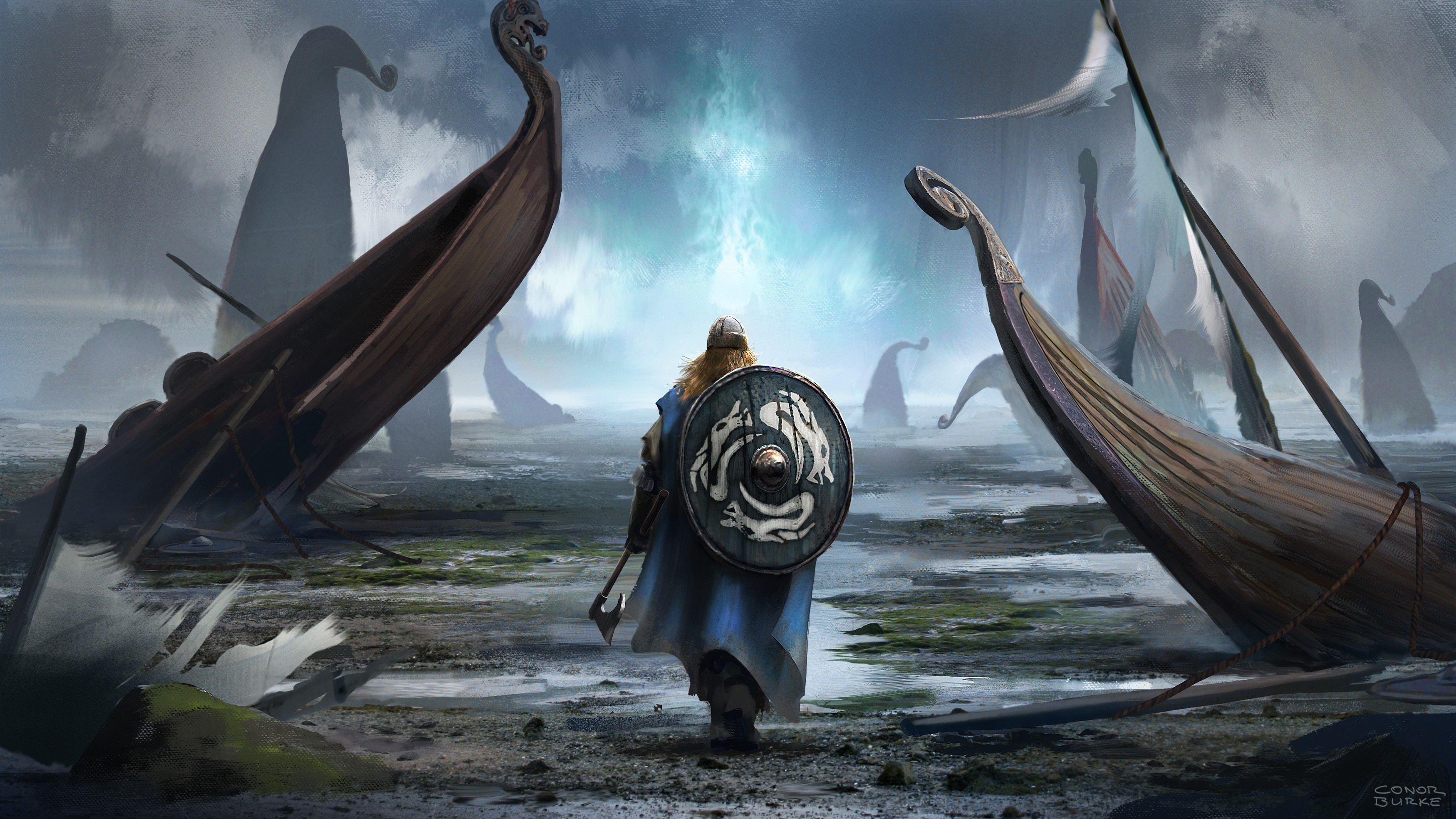 Shield Warrior Viking Fantasy Art, HD 4K Wallpaper