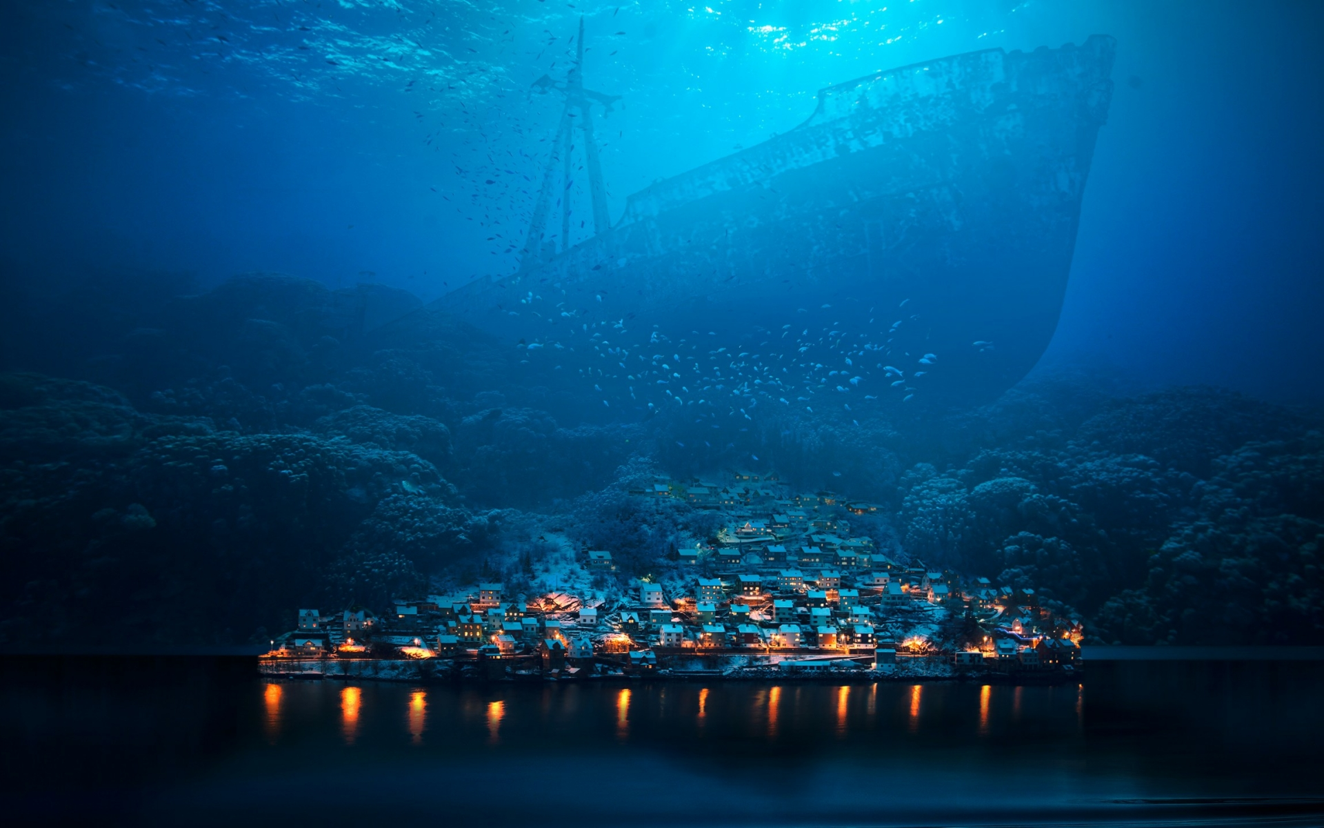 Ship And Town Underwater Full Hd 2k Wallpaper
