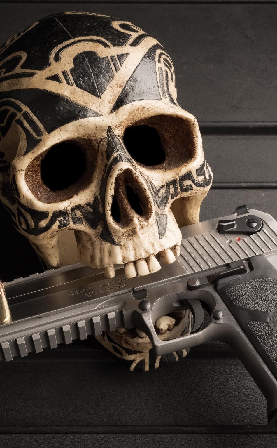 Skull pistol hd 4k wallpaper - Skull 4k images ...