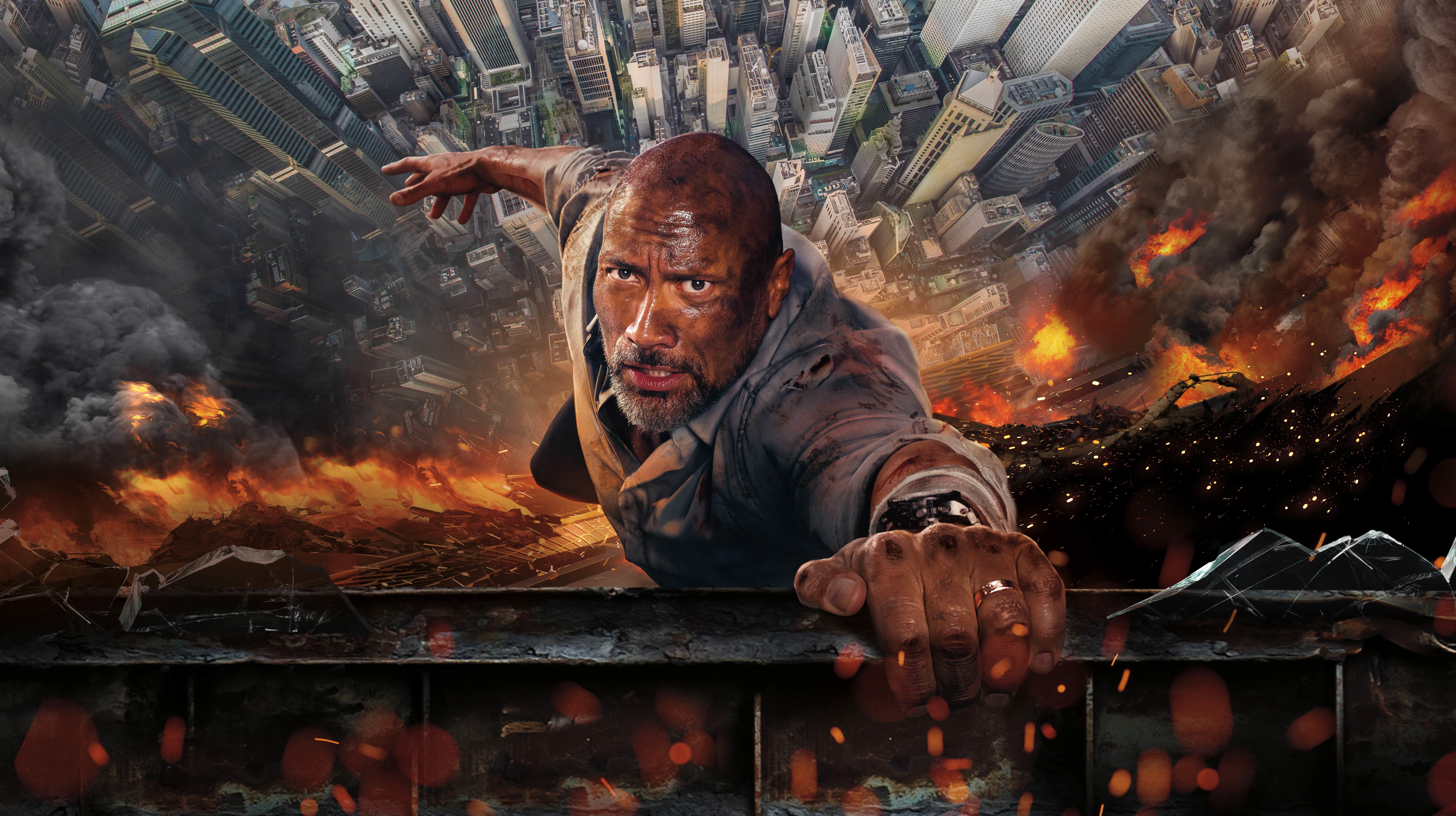 Skyscraper Dwayne Johnson 2018 Movie Wallpaper Hd Movies 4k