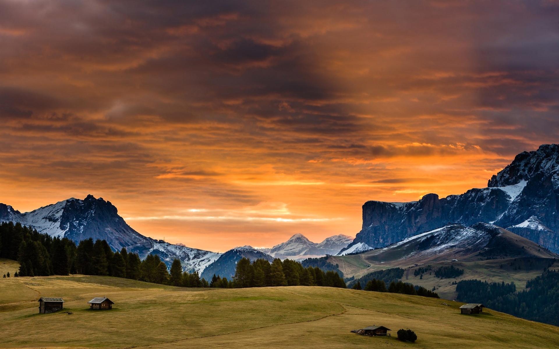 Snowy Mountains Sunset Grass Wallpaper Hd Nature 4k Wallpapers
