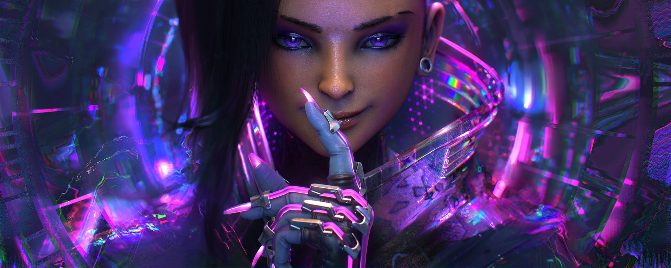 Overwatch Wallpaper Dual Monitor: Sombra Overwatch Artwork, Full HD Wallpaper