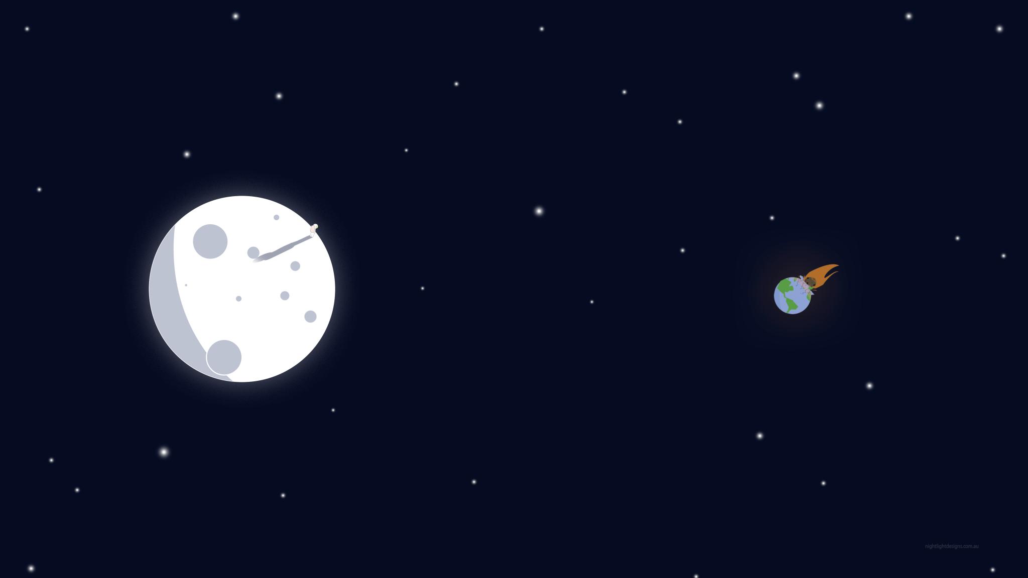 Space Moon And Earth Minimalism Art, HD 4K Wallpaper
