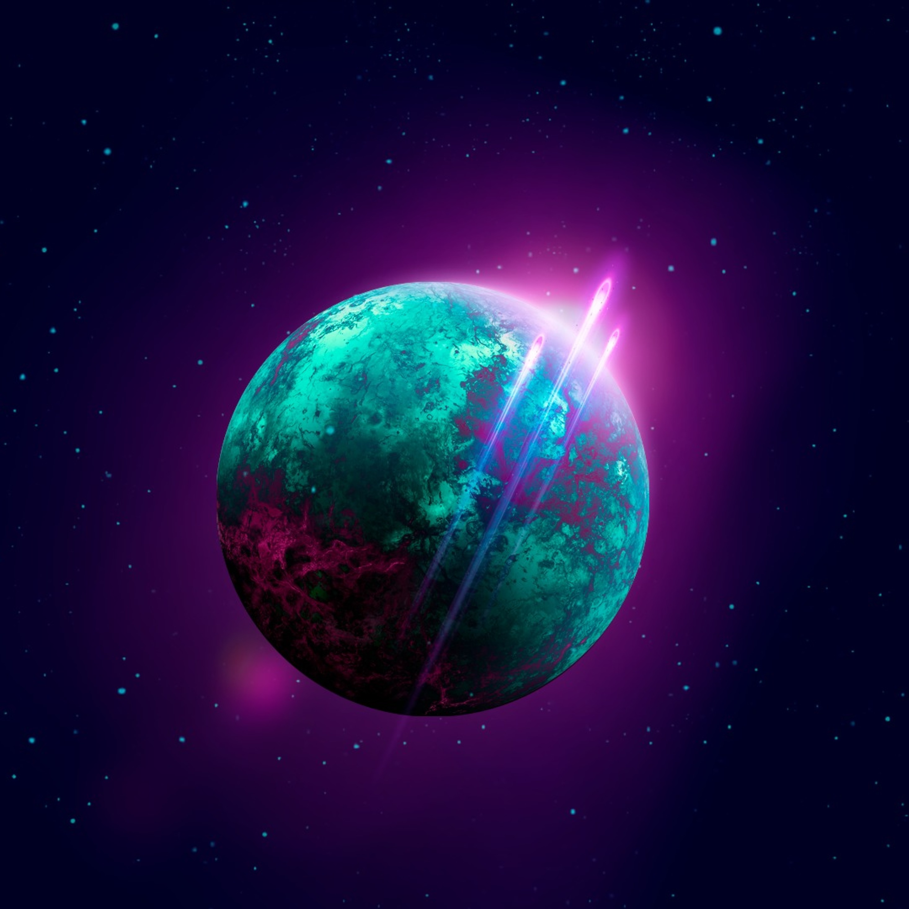 Space Retro-wave Planet, Full HD Wallpaper
