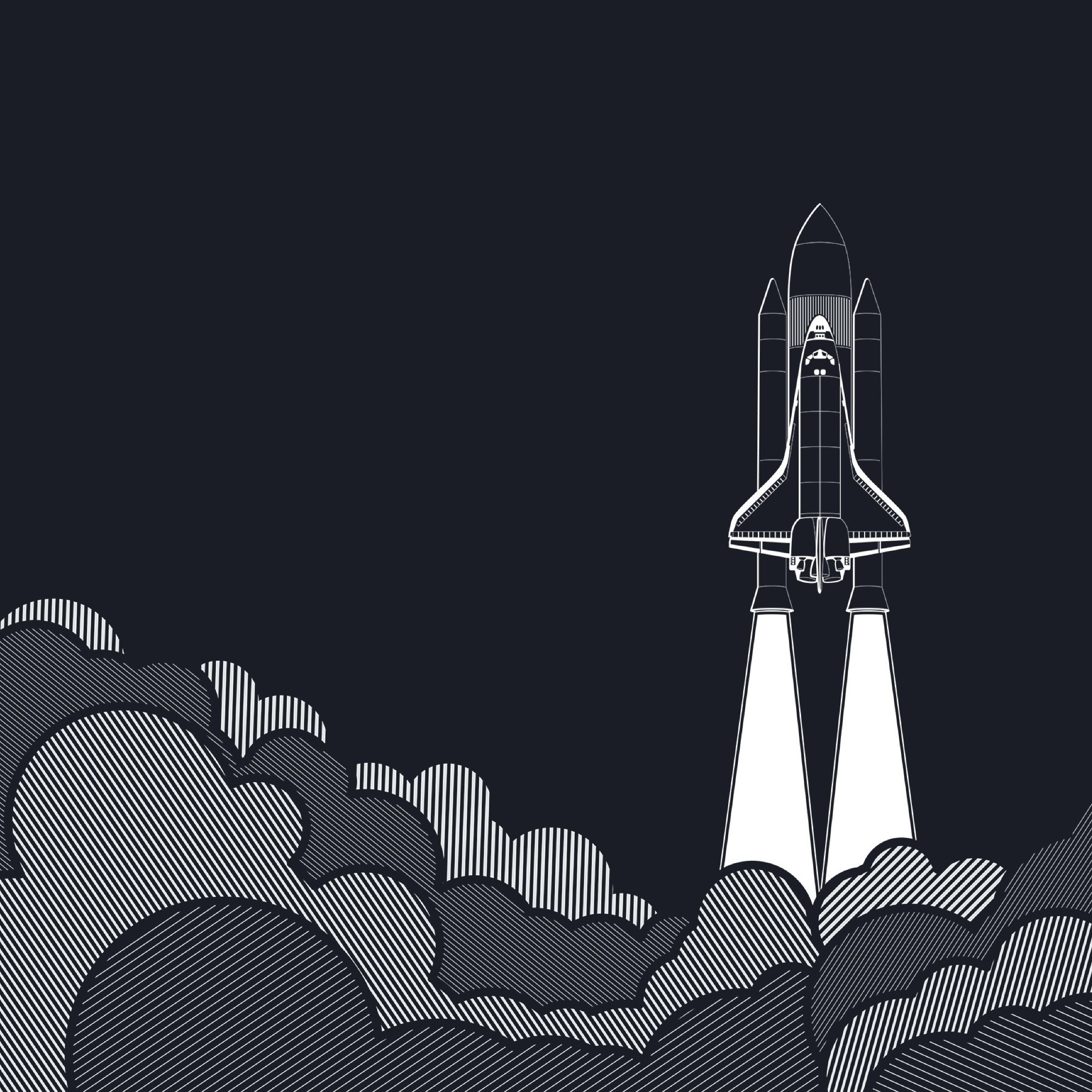 Space Shuttle Rocket Startup Concepts Minimalism, Full HD