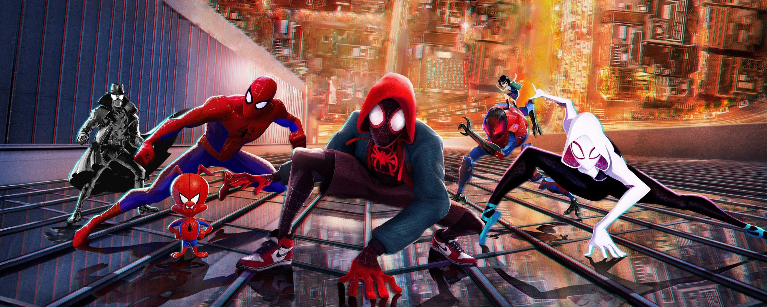 2560x1024 spiderman into the spiderverse 2018 movie