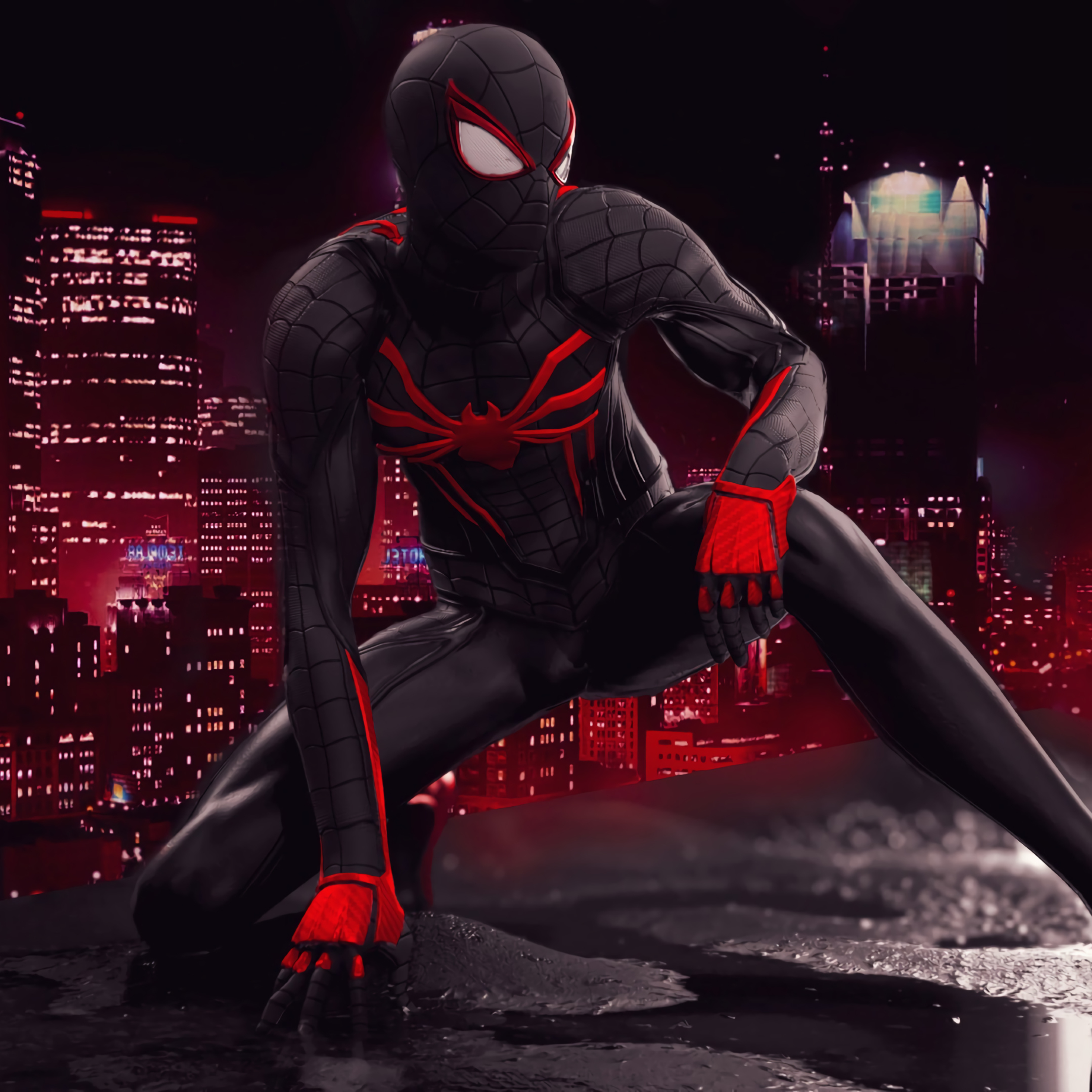 2932x2932 Spider Man Red And Black Suit Art Ipad Pro ...