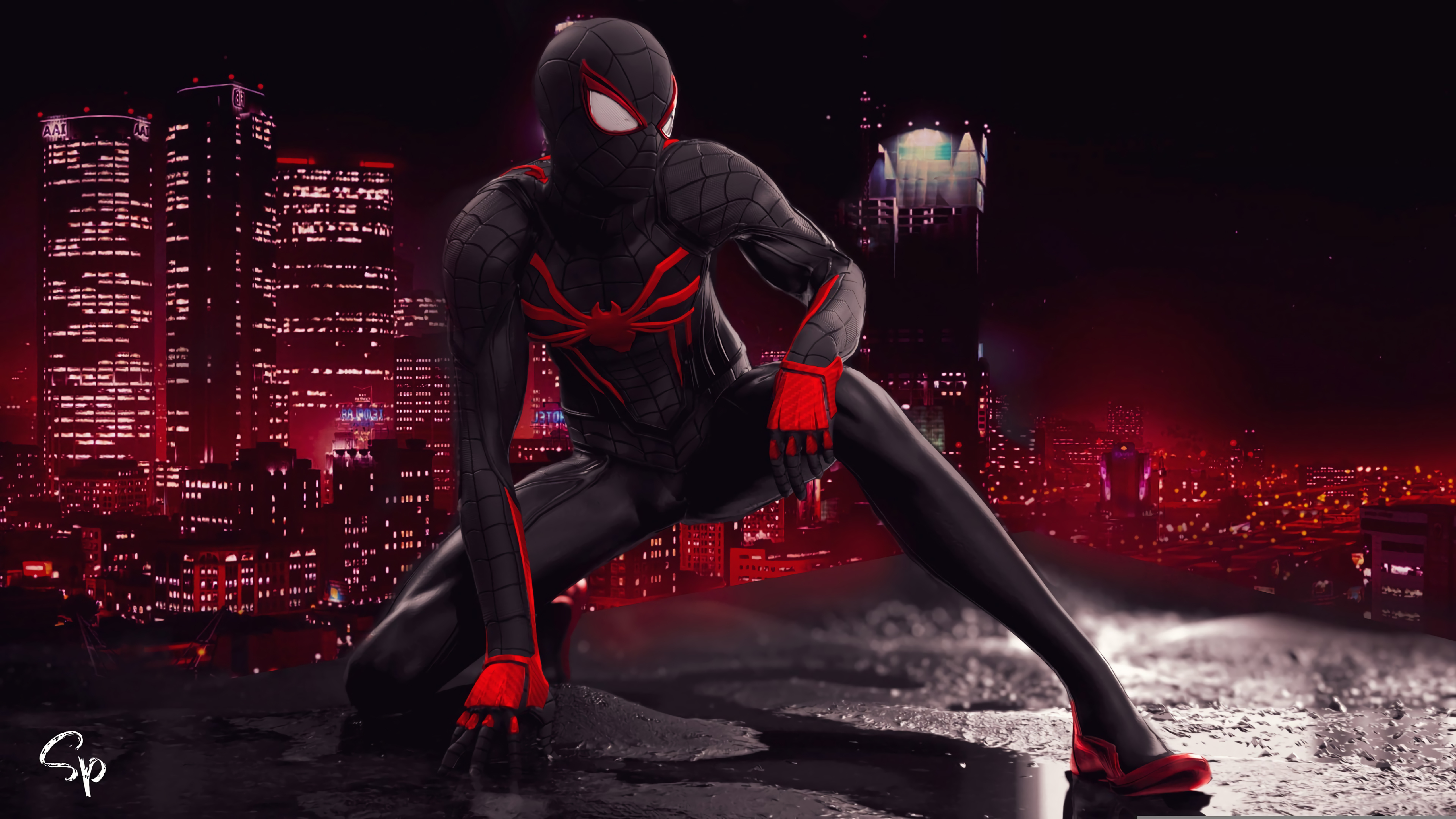 5120x2880 Spider Man Red And Black Suit Art 5K Wallpaper ...