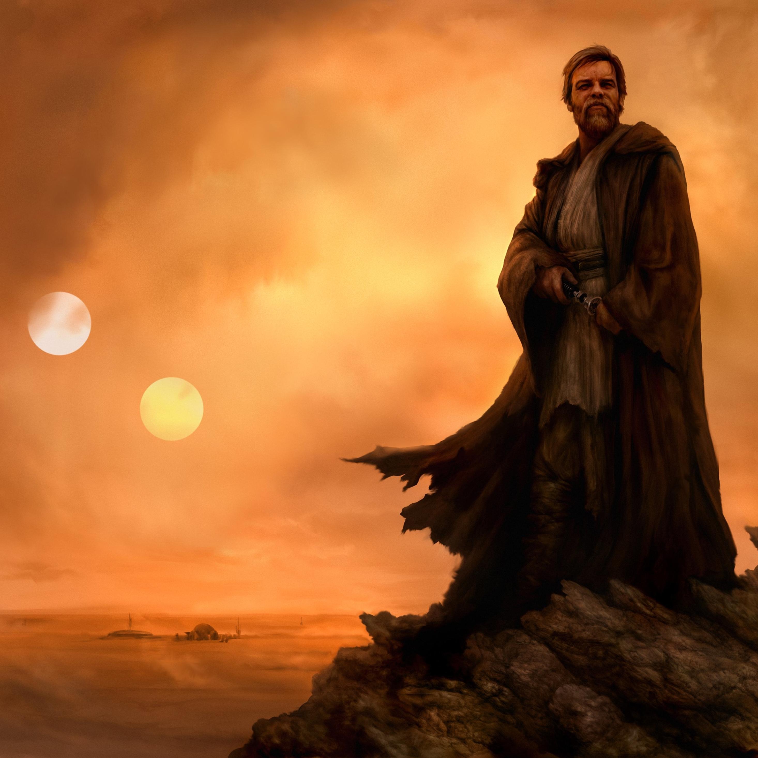 2932x2932 Star Wars Obi Wan Artwork Ipad Pro Retina Display